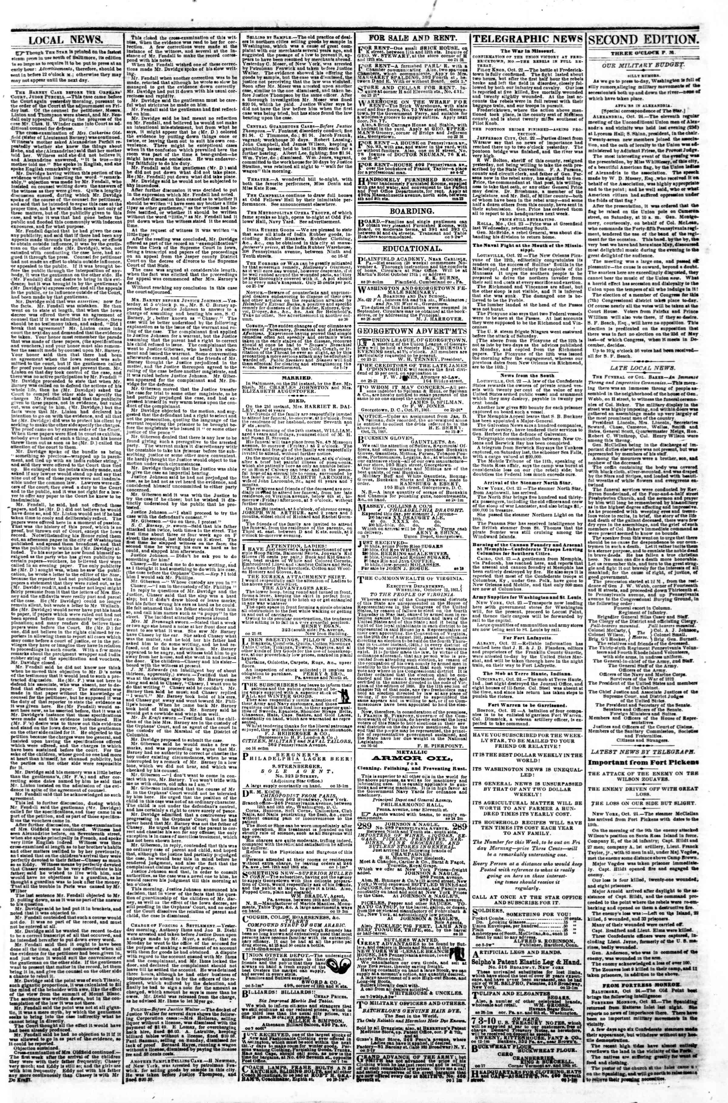 Newspaper of Evening Star dated October 24, 1861 Page 3