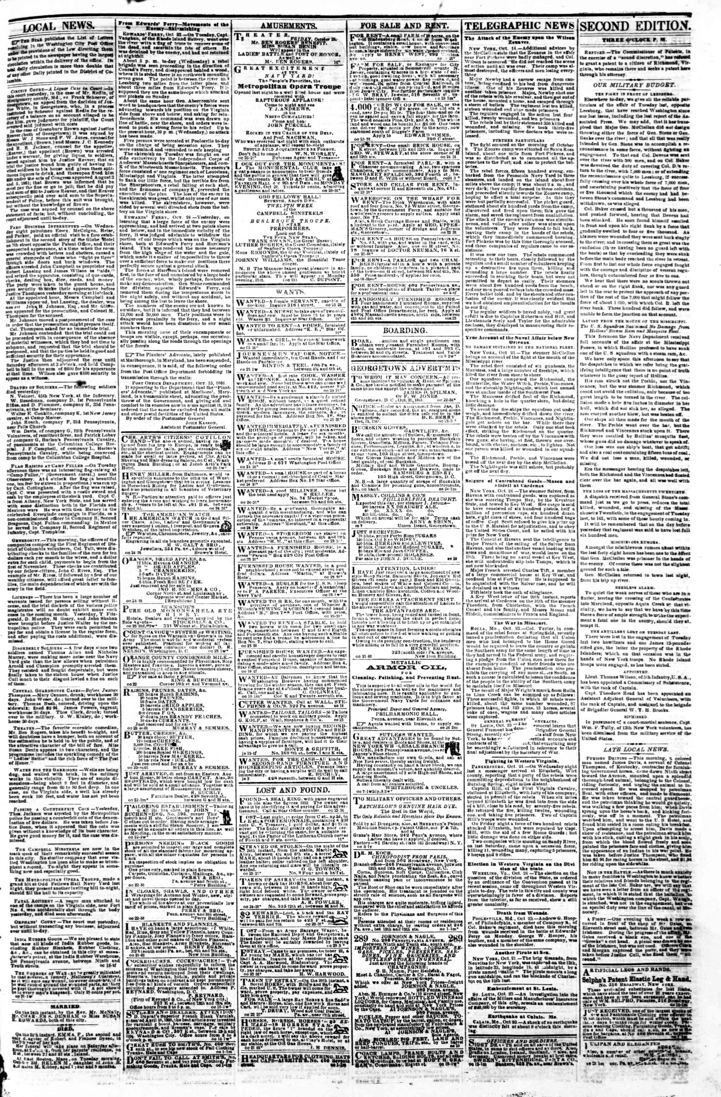 Newspaper of Evening Star dated October 25, 1861 Page 3