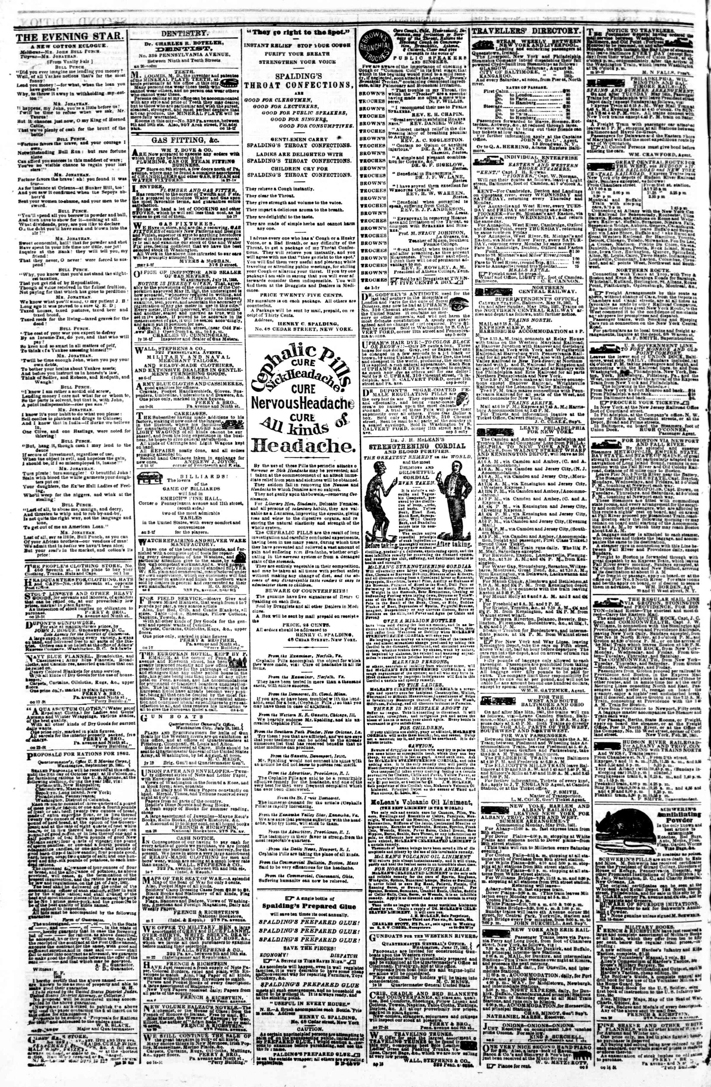 Newspaper of Evening Star dated October 25, 1861 Page 4
