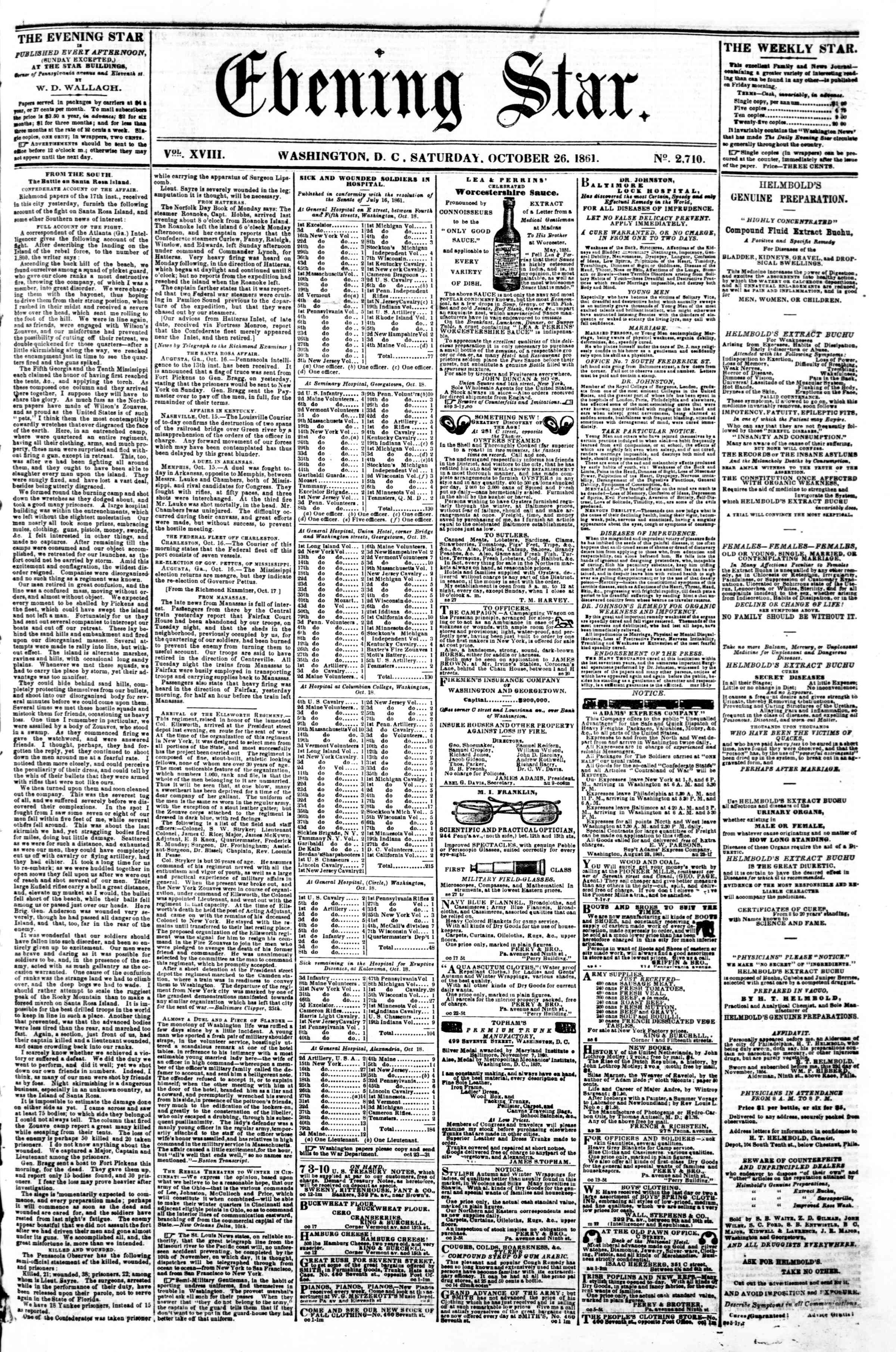 Newspaper of Evening Star dated October 26, 1861 Page 1