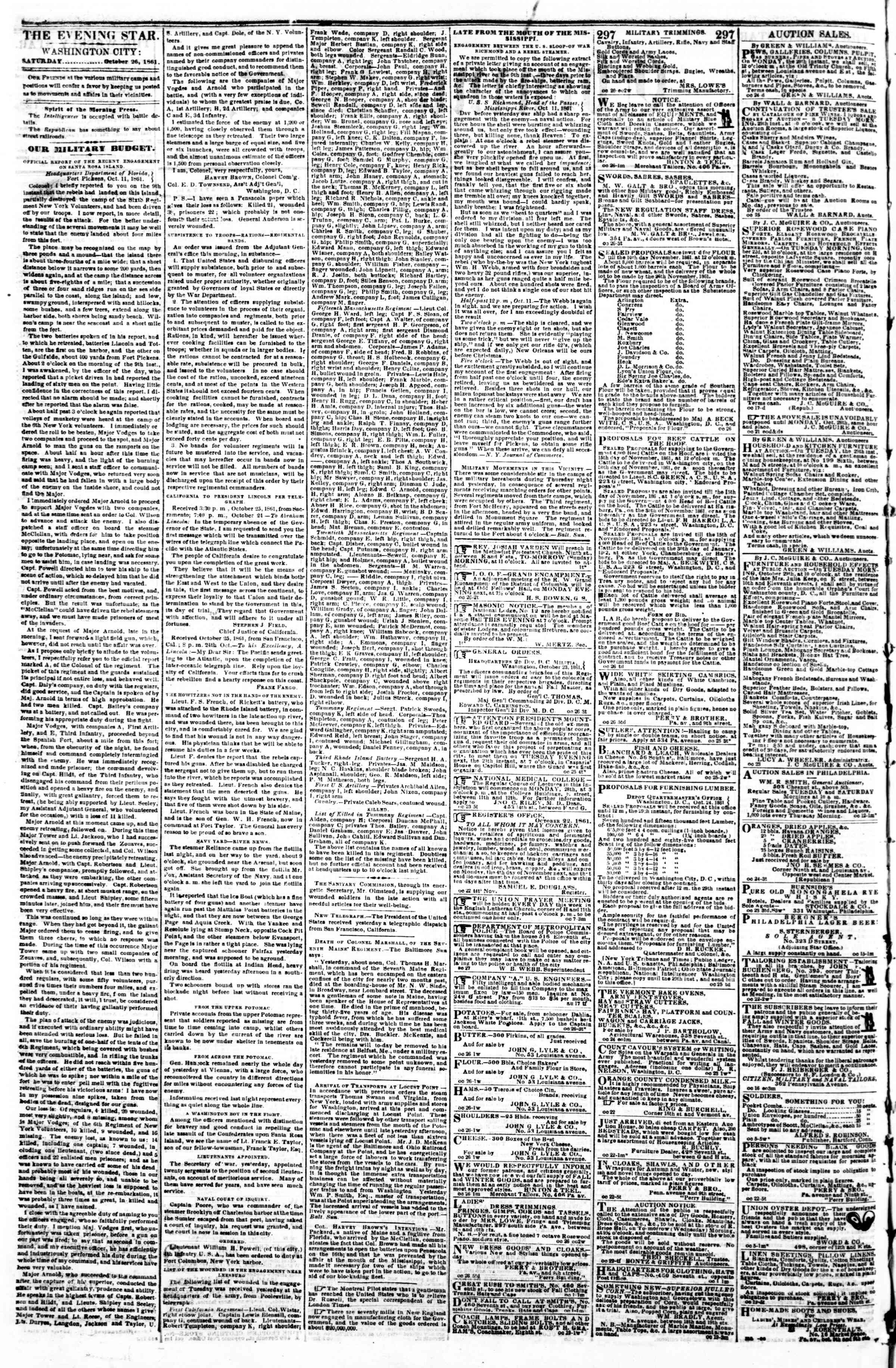 Newspaper of Evening Star dated October 26, 1861 Page 2