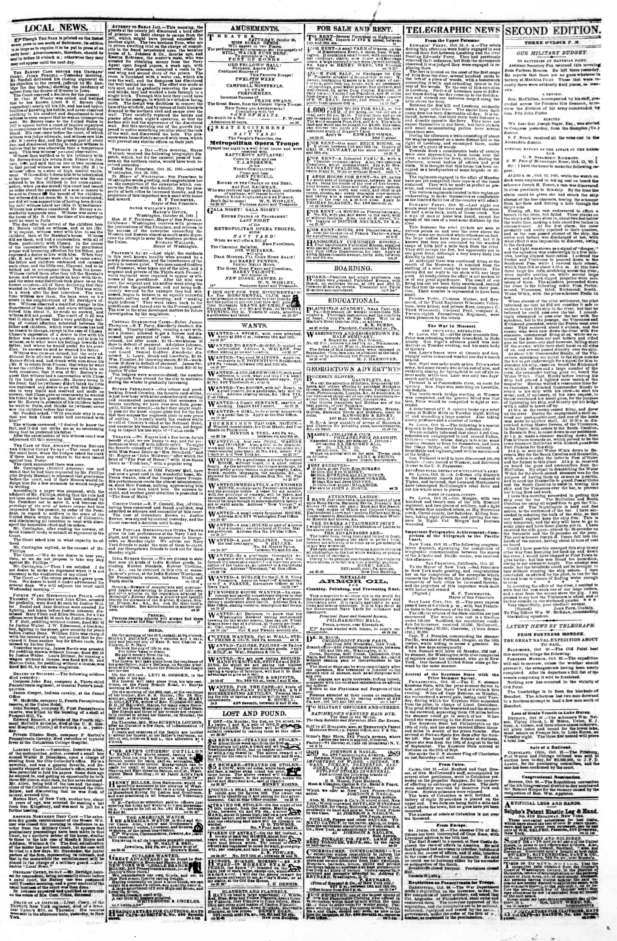 Newspaper of Evening Star dated October 26, 1861 Page 3