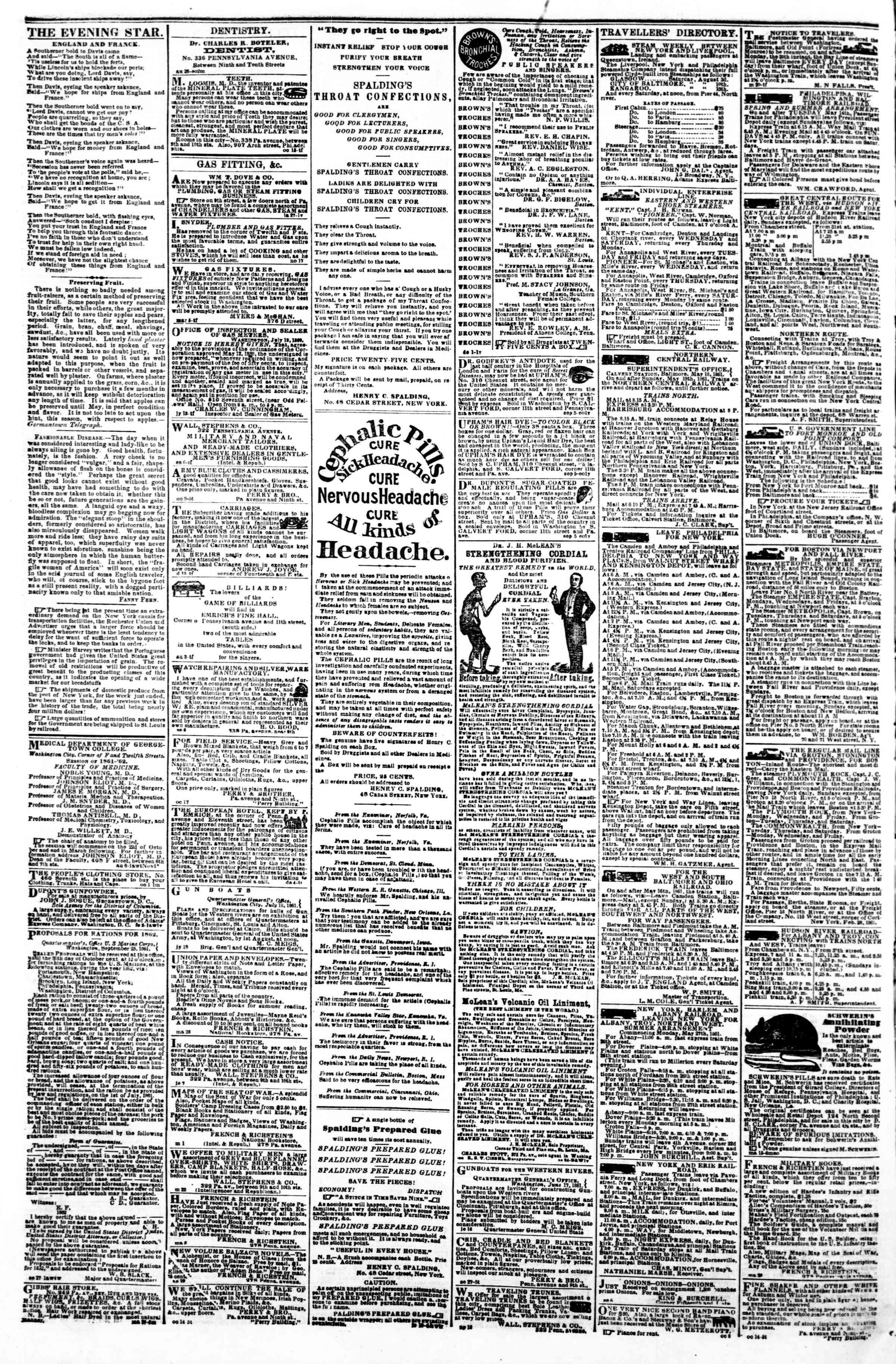 Newspaper of Evening Star dated October 26, 1861 Page 4