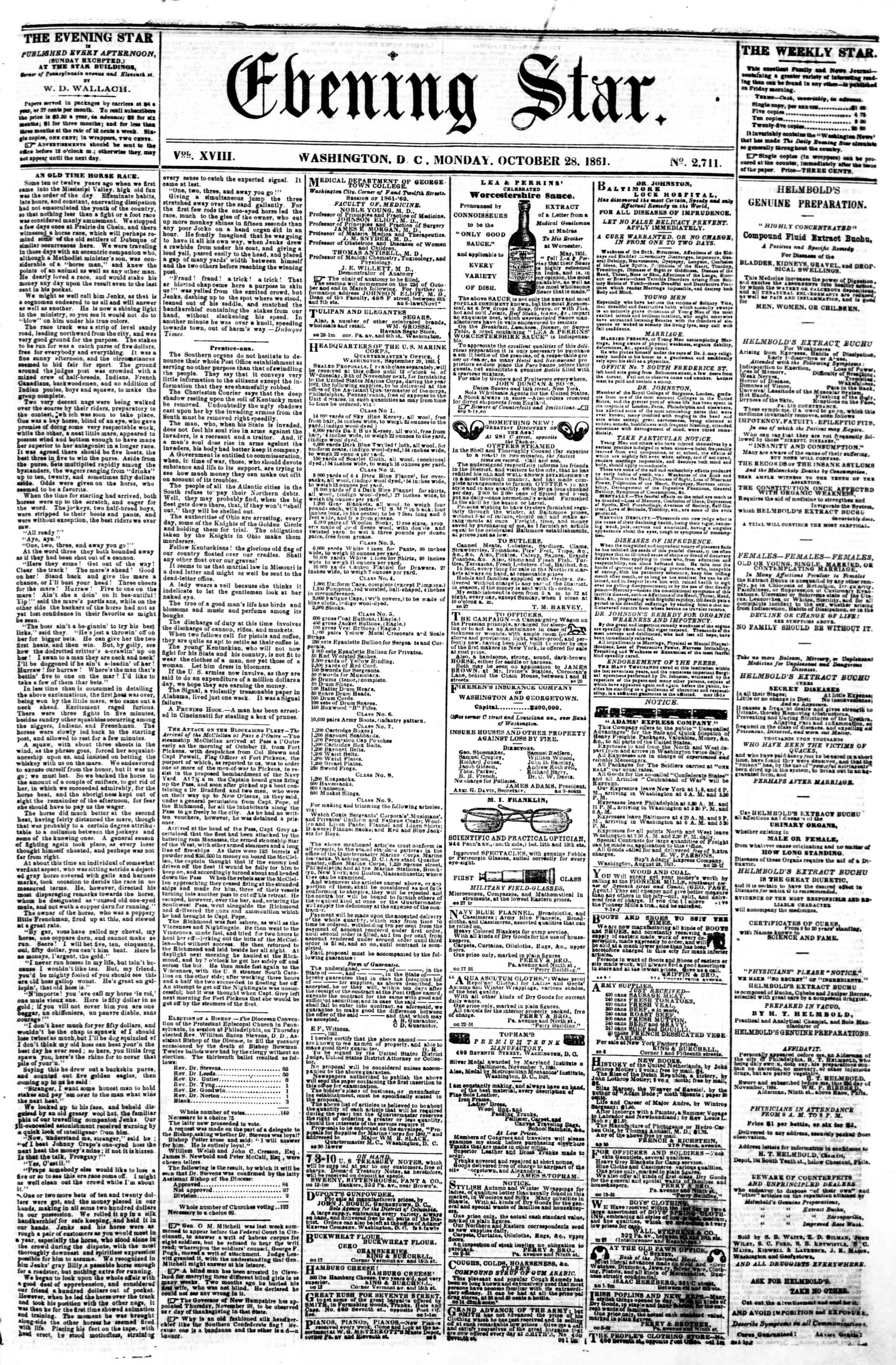 Newspaper of Evening Star dated October 28, 1861 Page 1