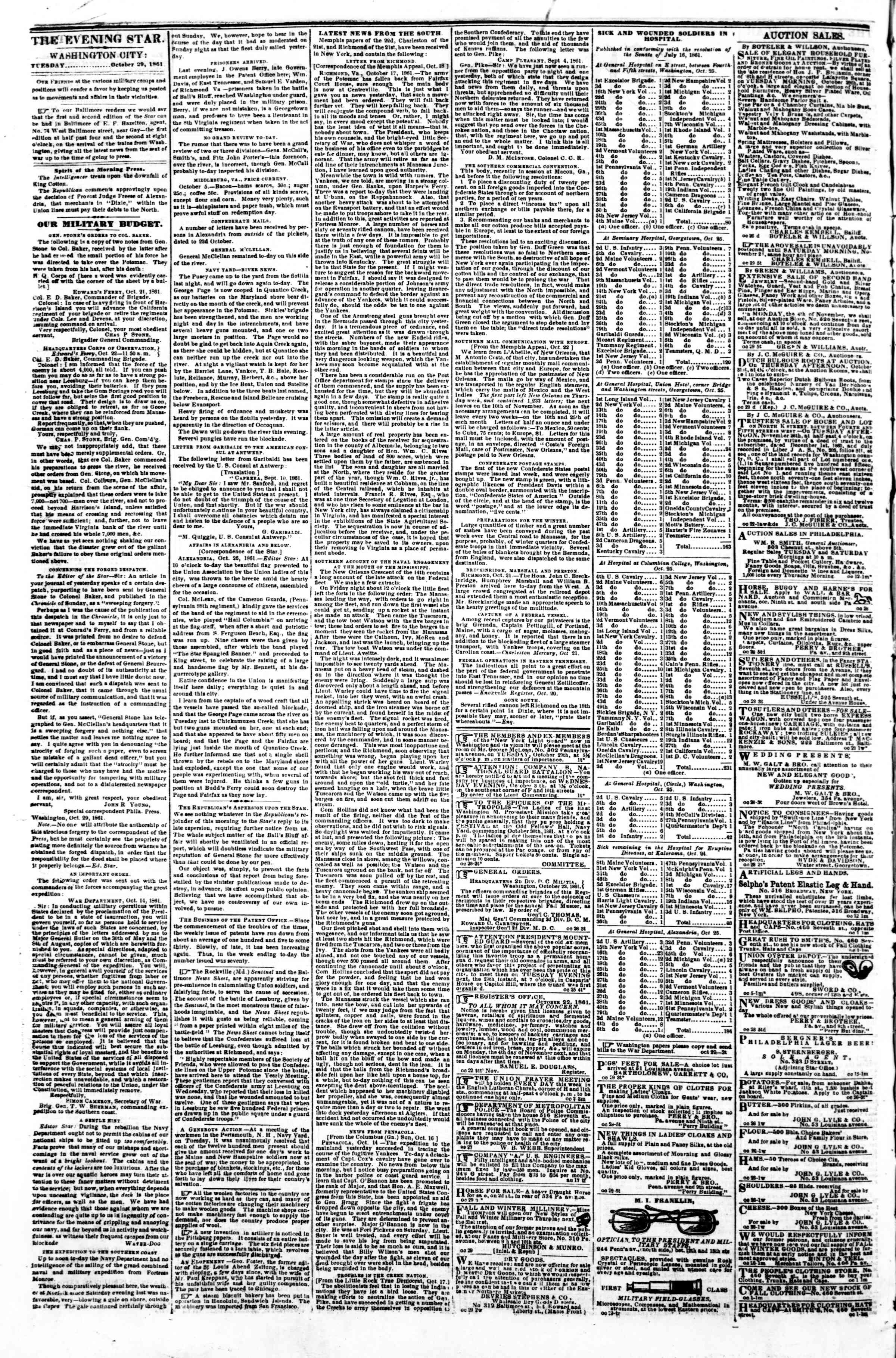 Newspaper of Evening Star dated October 29, 1861 Page 2