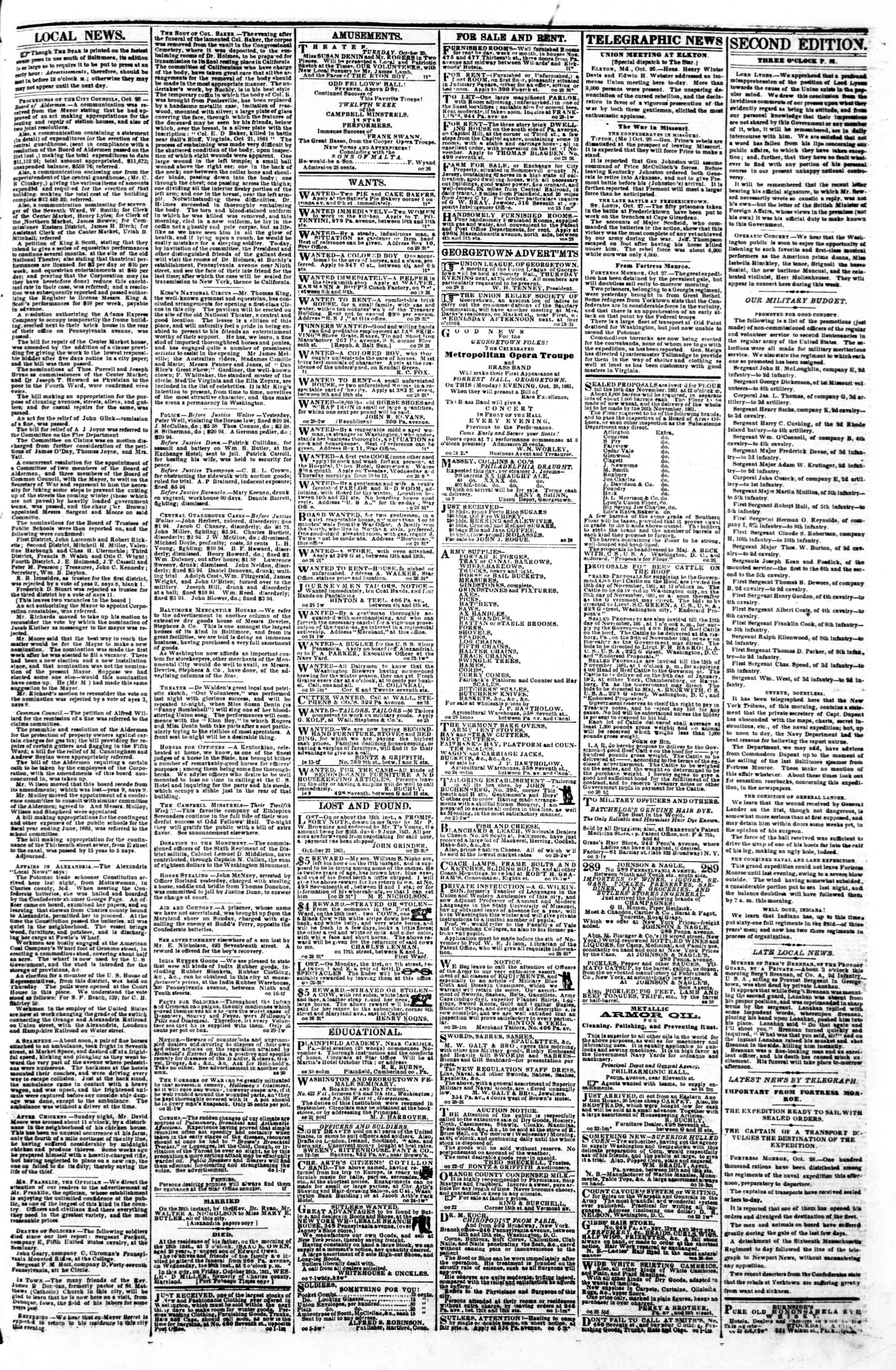 Newspaper of Evening Star dated October 29, 1861 Page 3