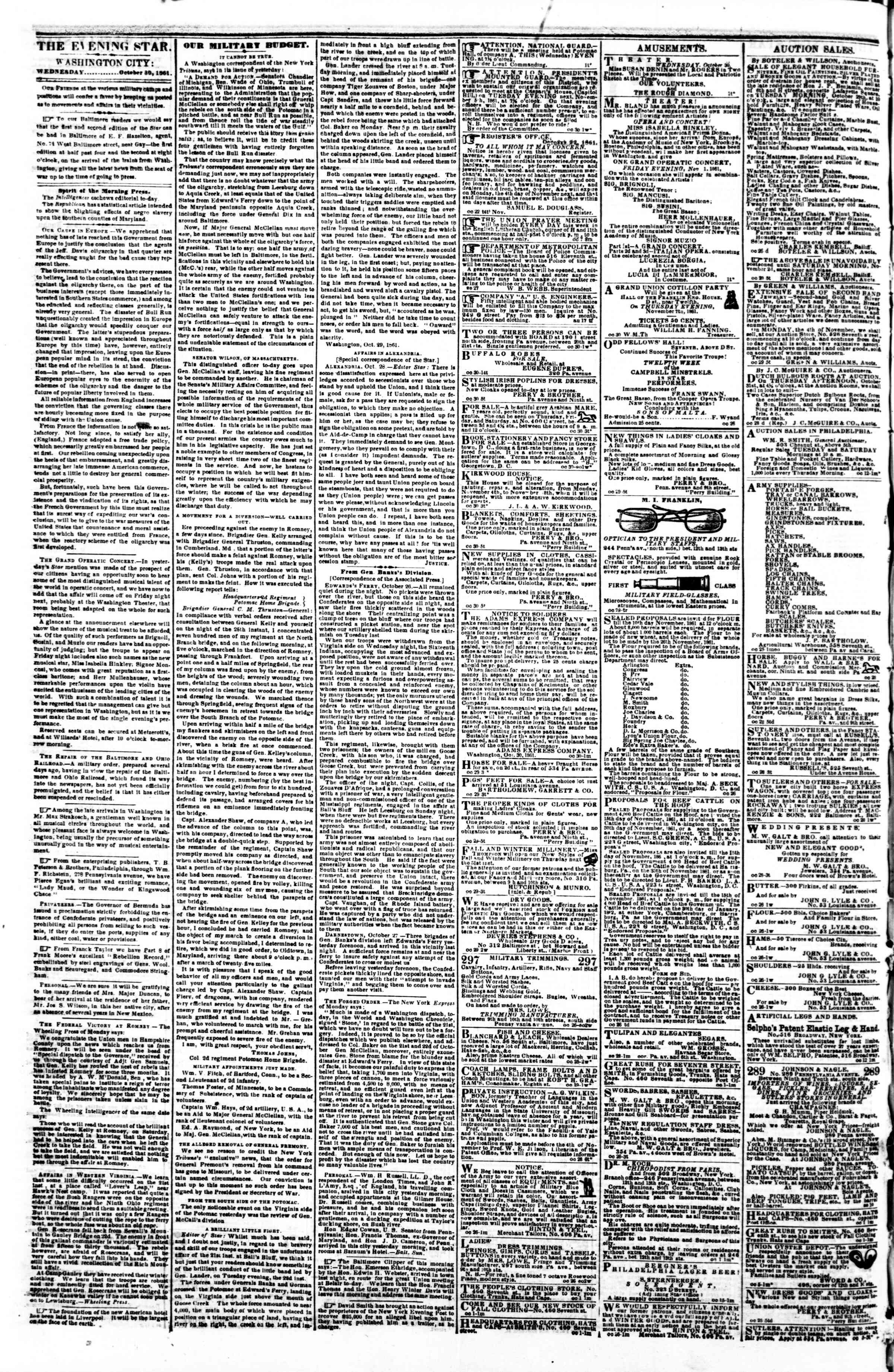 Newspaper of Evening Star dated October 30, 1861 Page 2