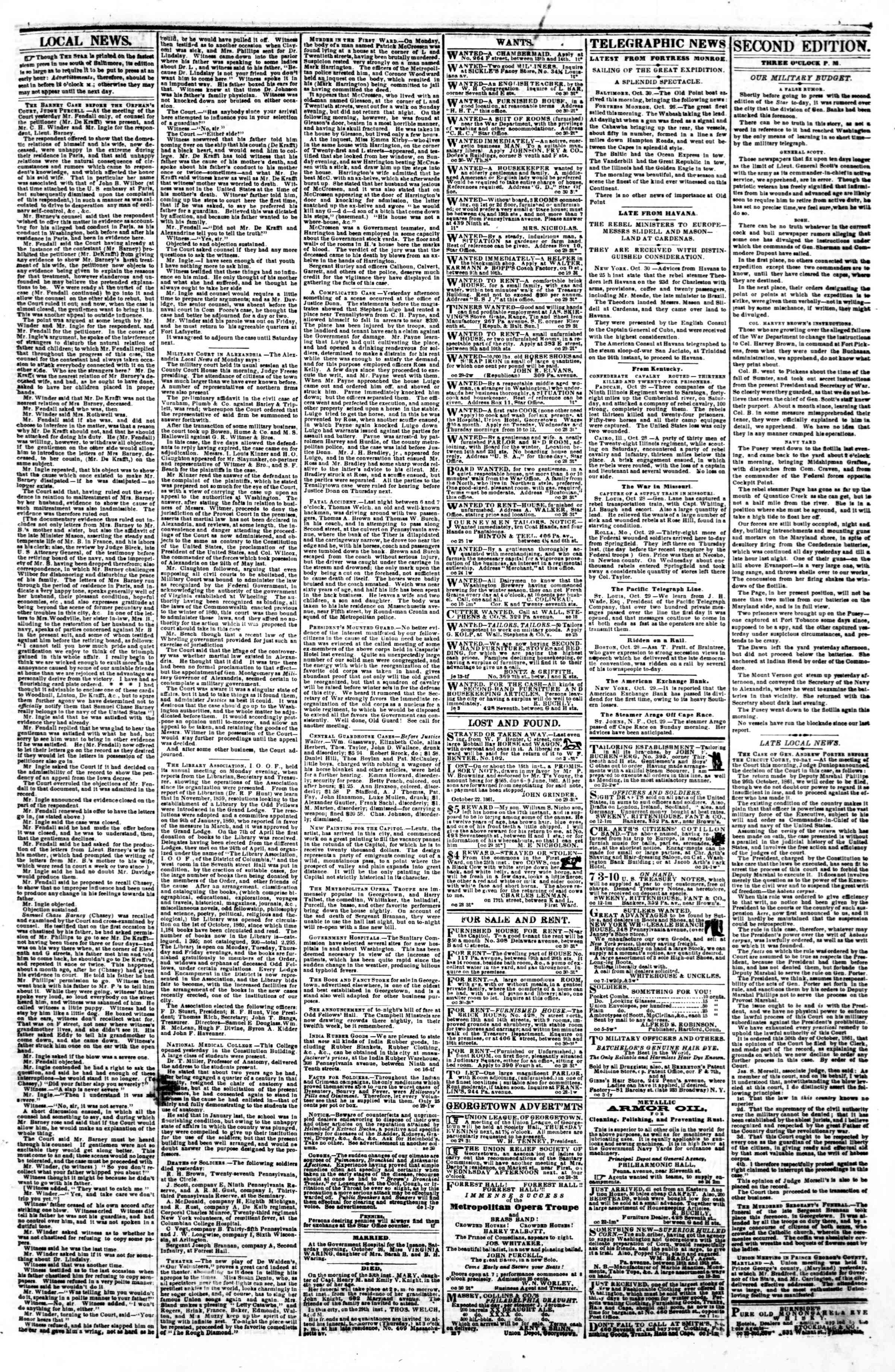 Newspaper of Evening Star dated October 30, 1861 Page 3