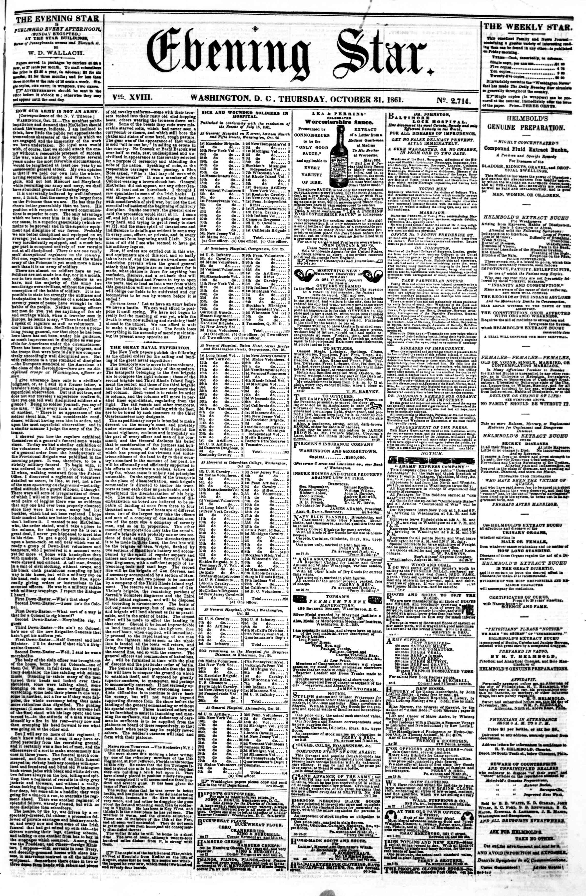 Newspaper of Evening Star dated October 31, 1861 Page 1
