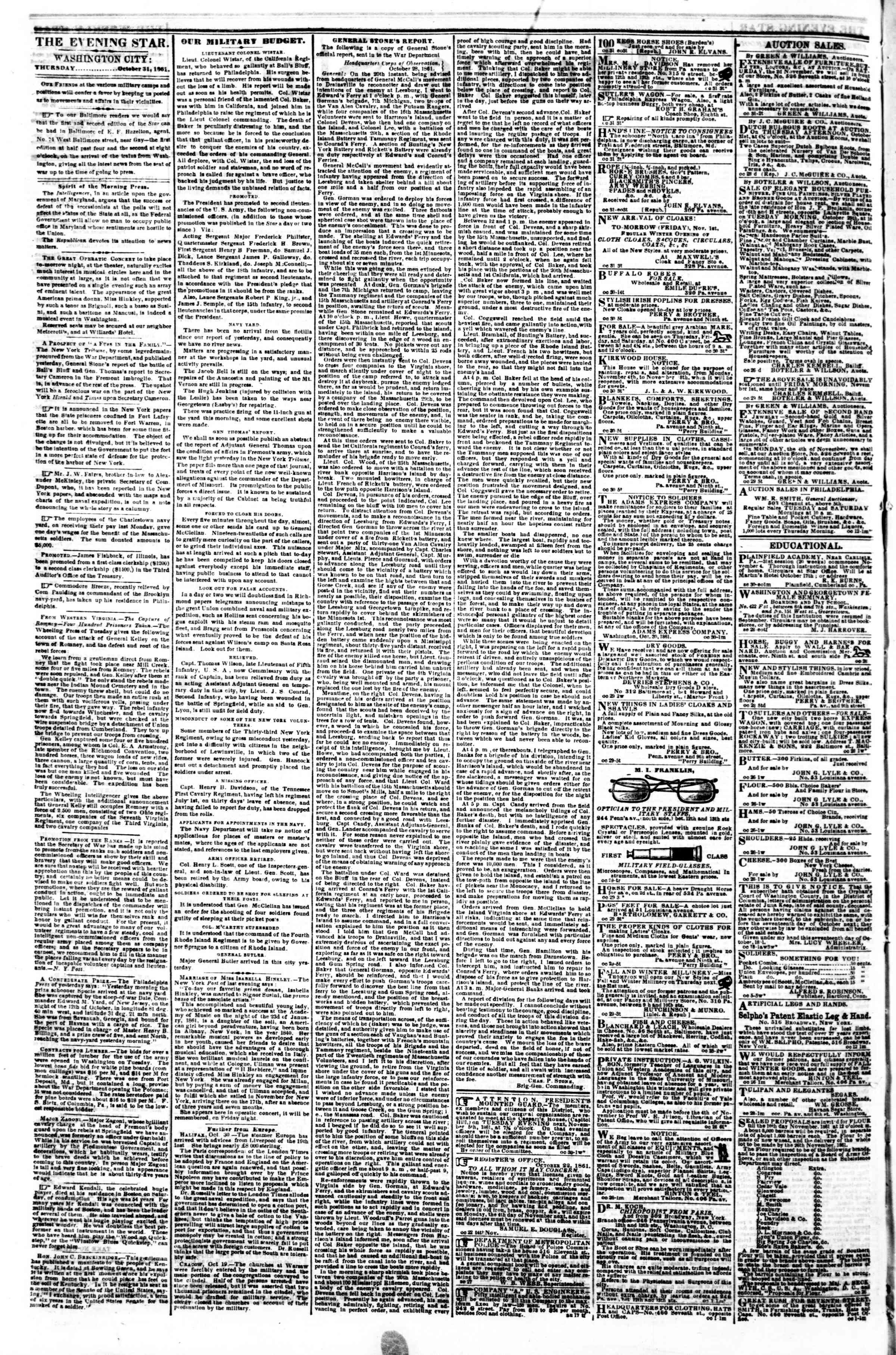 Newspaper of Evening Star dated October 31, 1861 Page 2