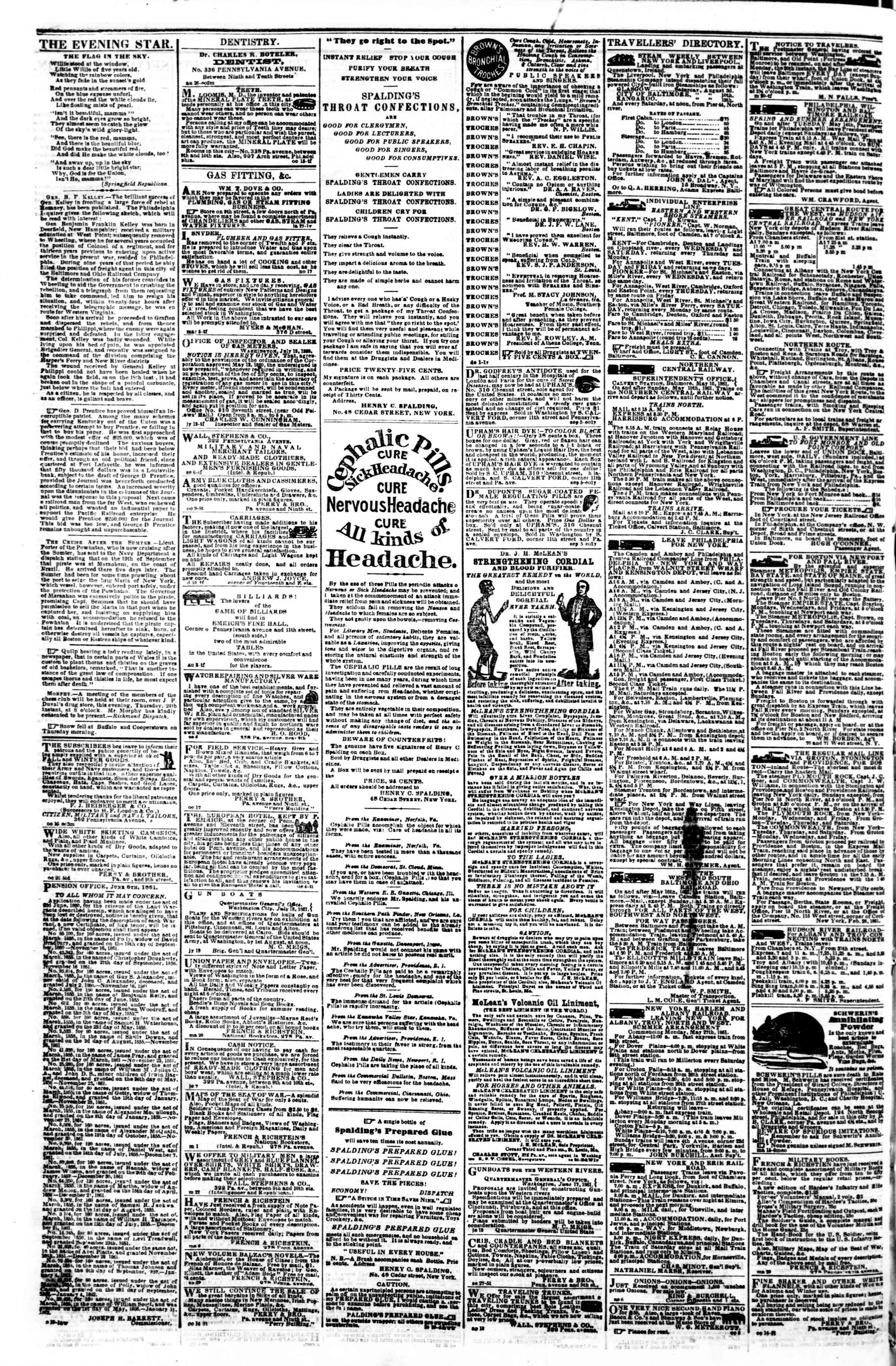 Newspaper of Evening Star dated October 31, 1861 Page 4