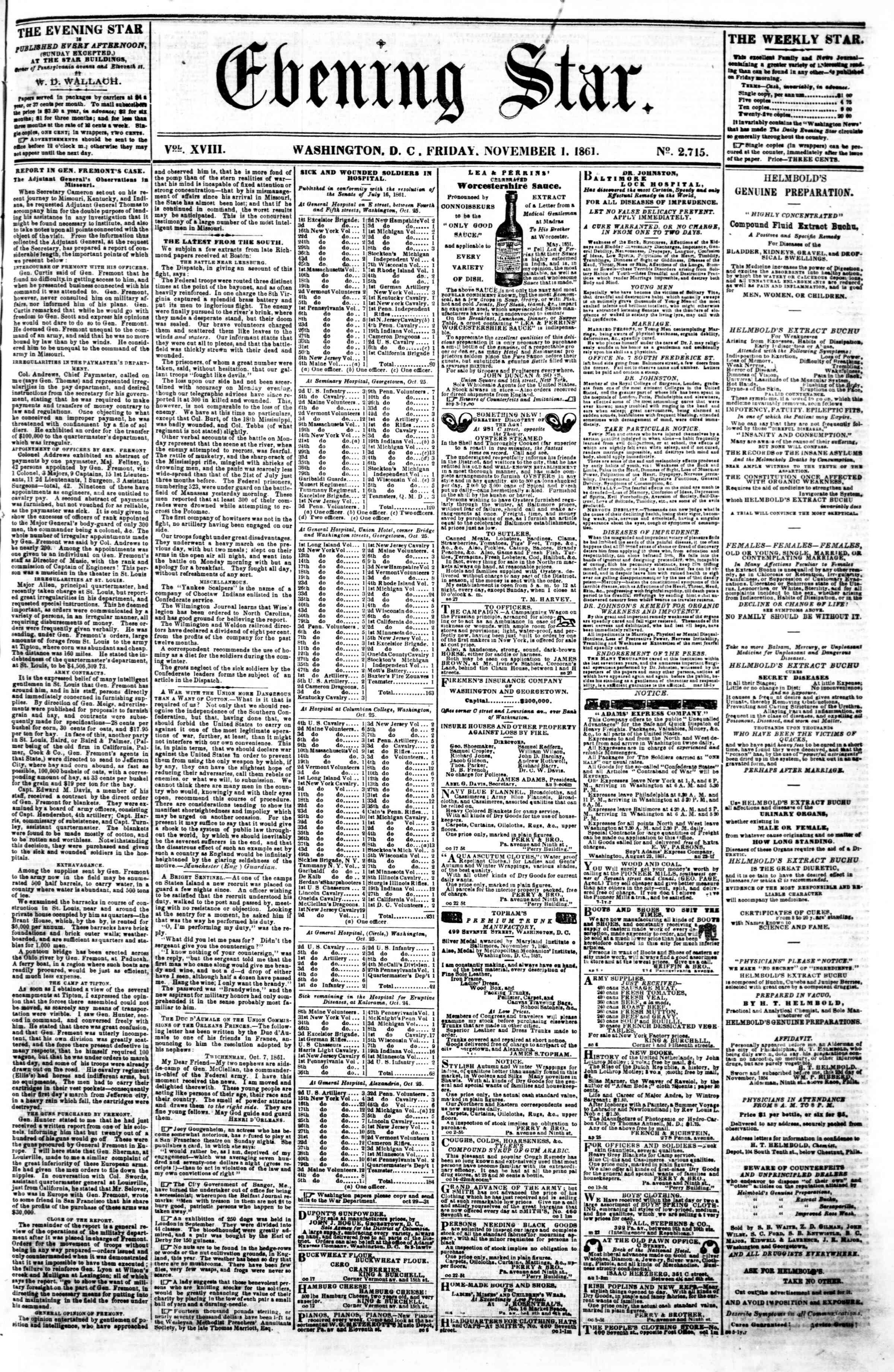 Newspaper of Evening Star dated November 1, 1861 Page 1