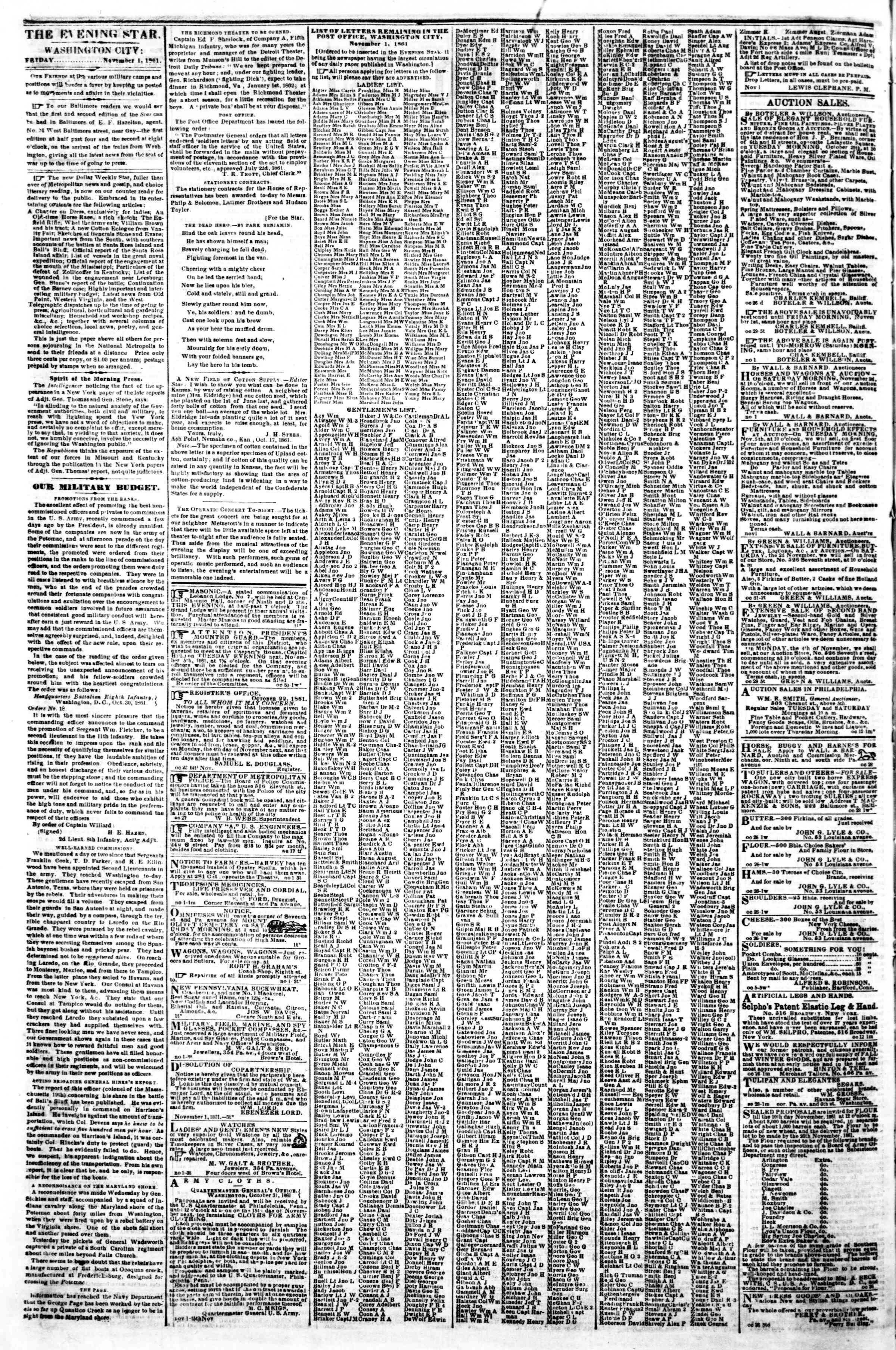 Newspaper of Evening Star dated November 1, 1861 Page 2