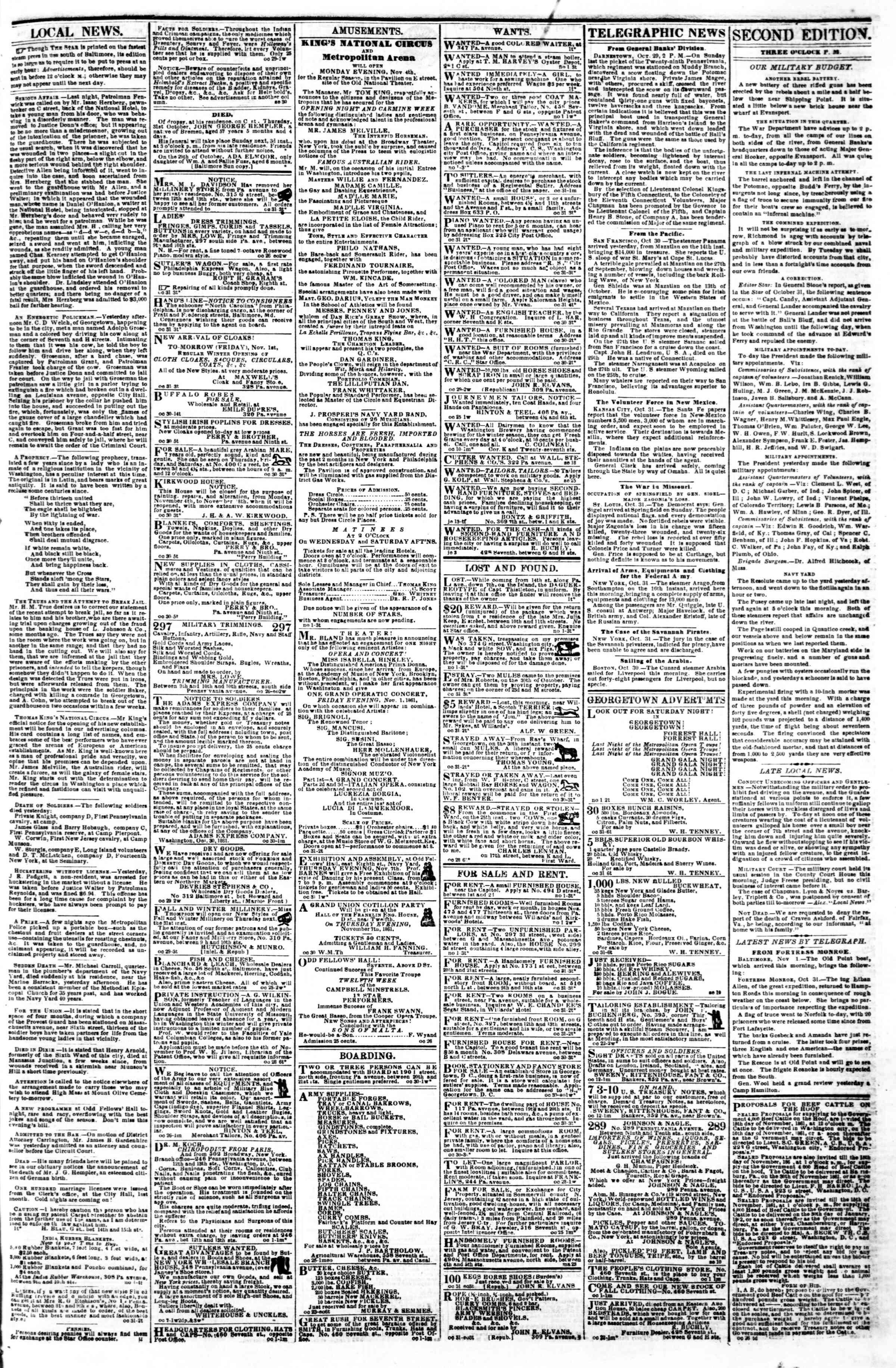1 Kasım 1861 tarihli Evening Star Gazetesi Sayfa 3