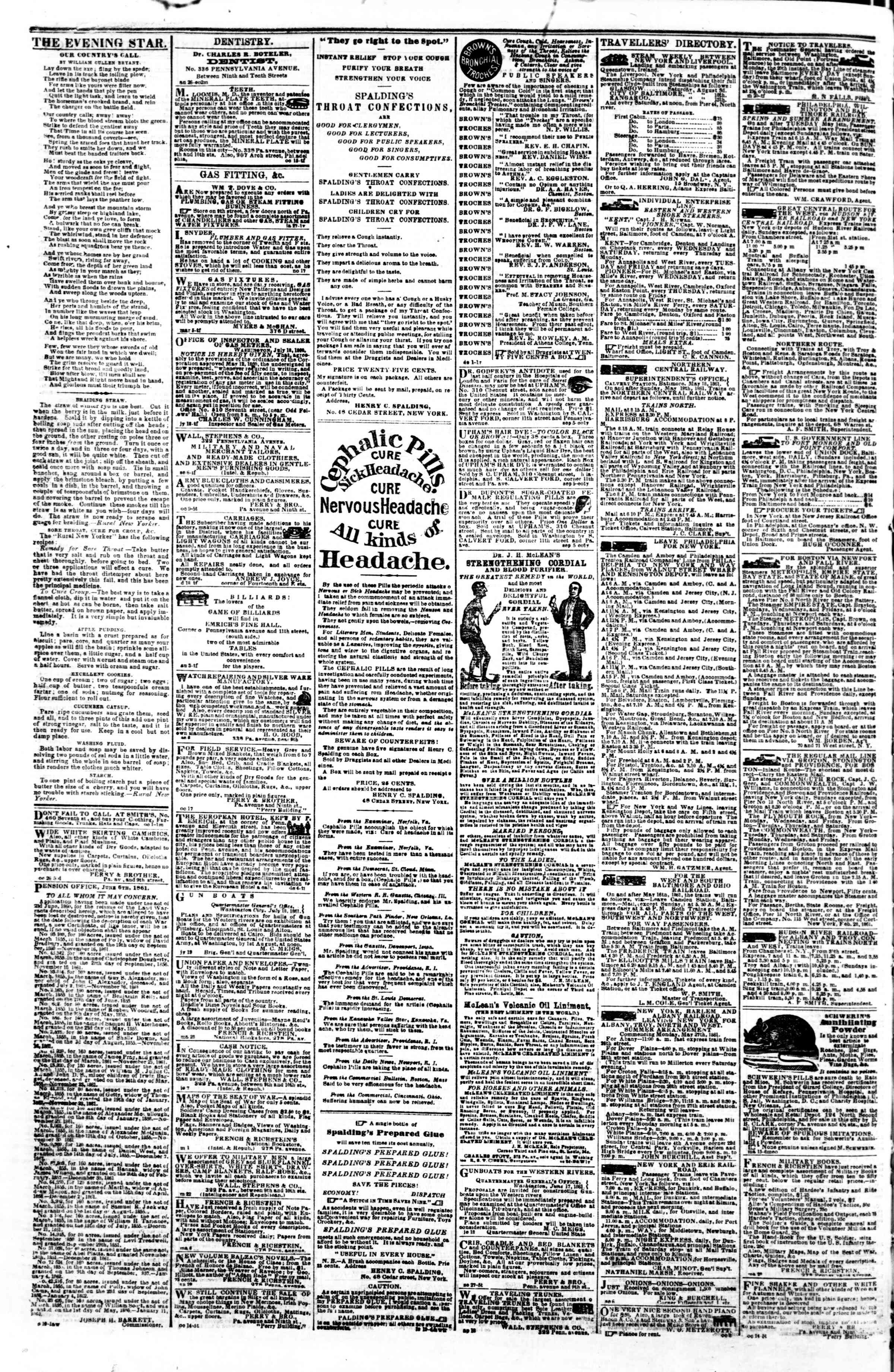 Newspaper of Evening Star dated November 1, 1861 Page 4