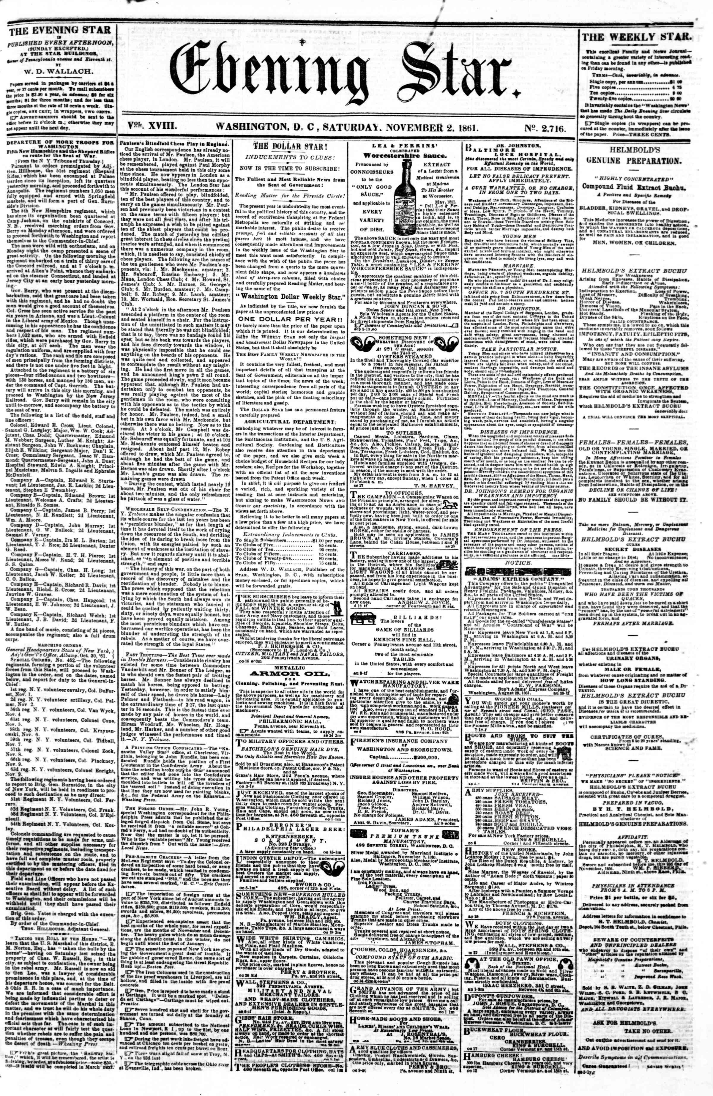 Newspaper of Evening Star dated 2 Kasım 1861 Page 1