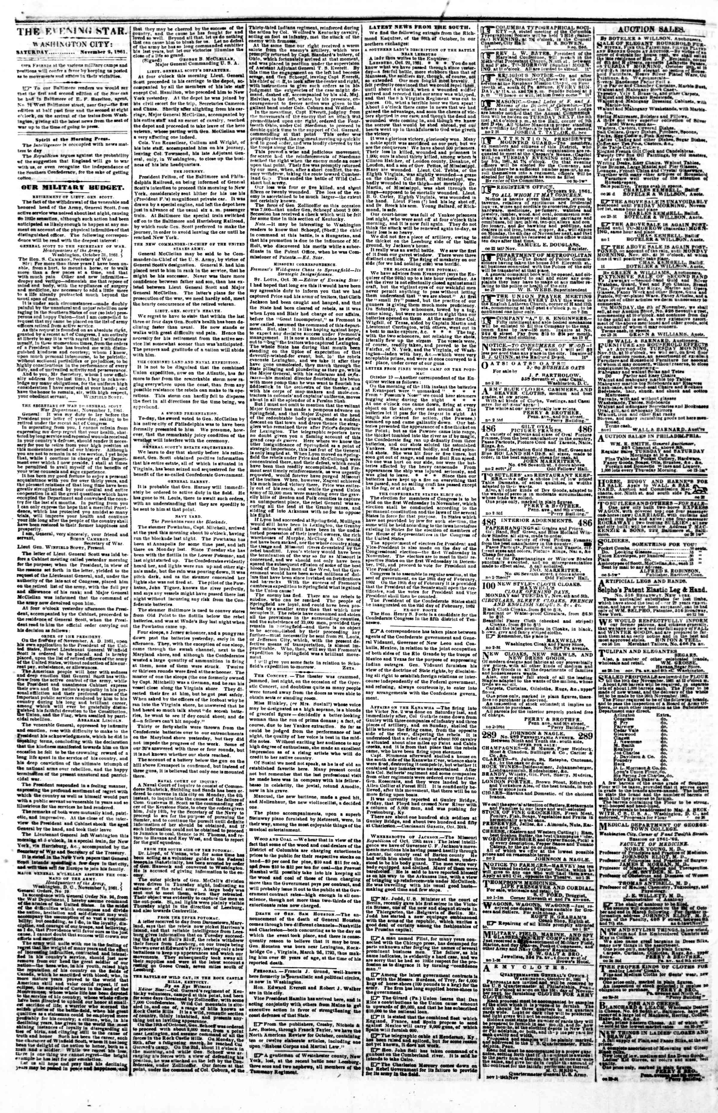 Newspaper of Evening Star dated November 2, 1861 Page 2