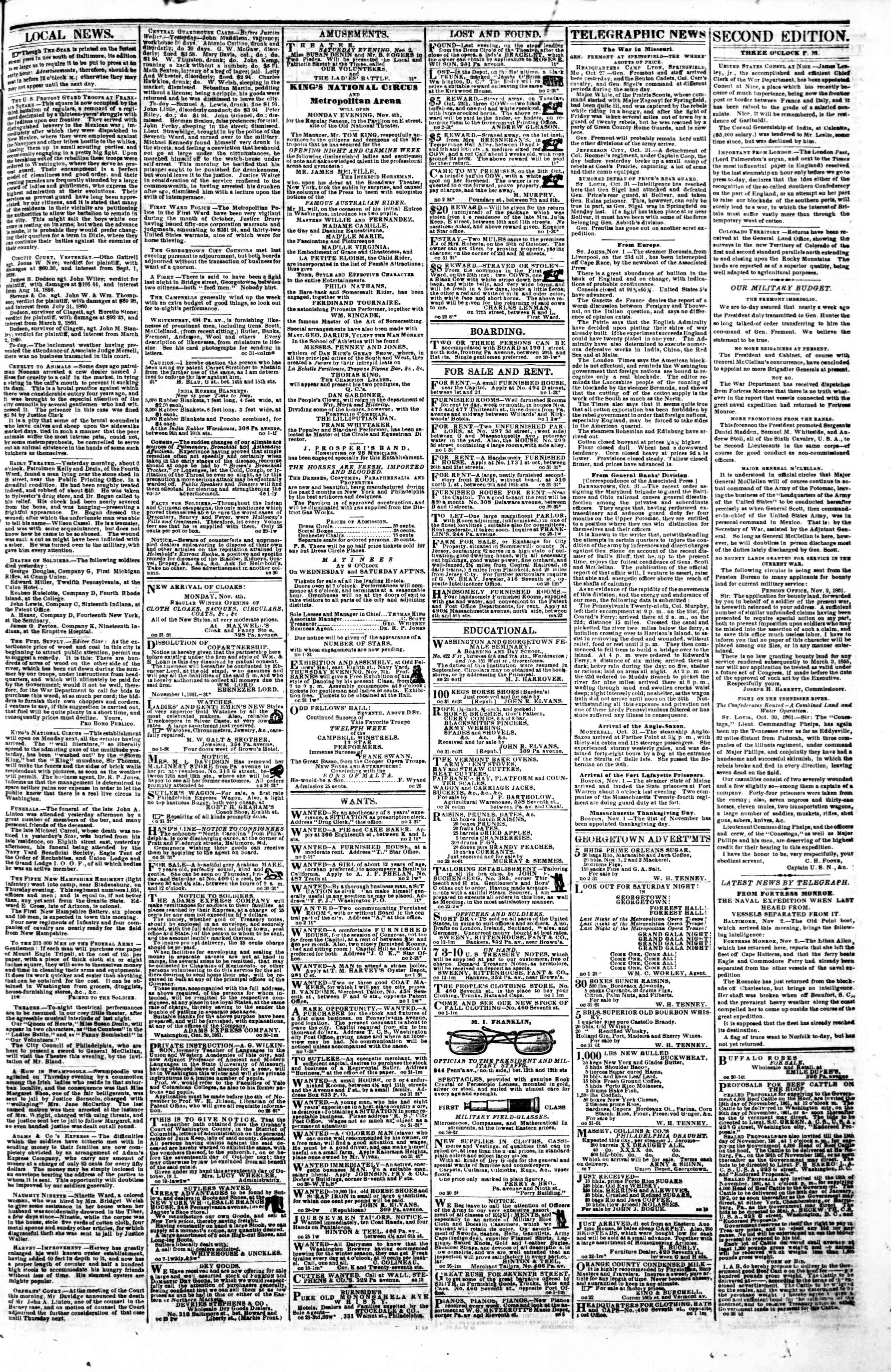 Newspaper of Evening Star dated November 2, 1861 Page 3