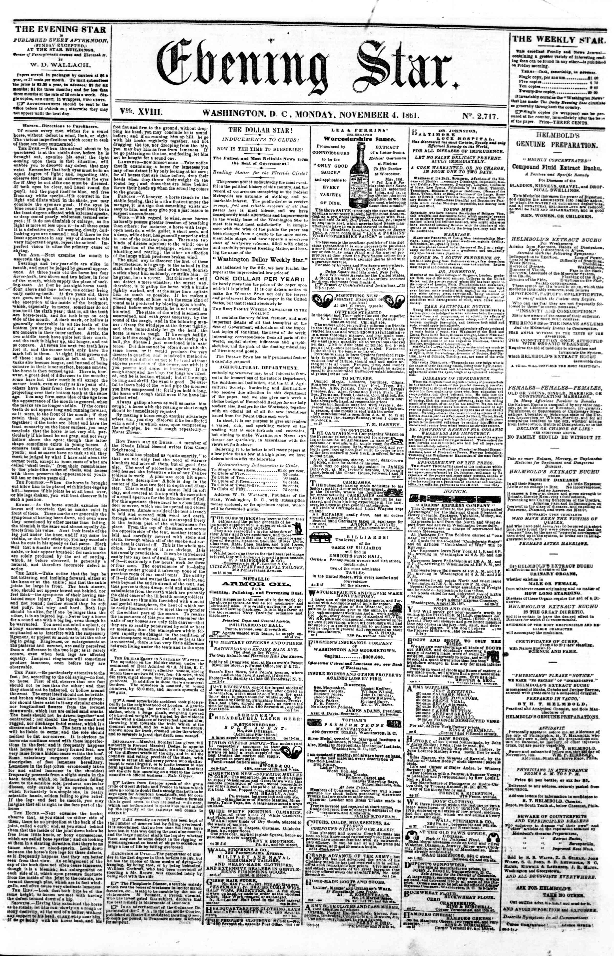 Newspaper of Evening Star dated November 4, 1861 Page 1