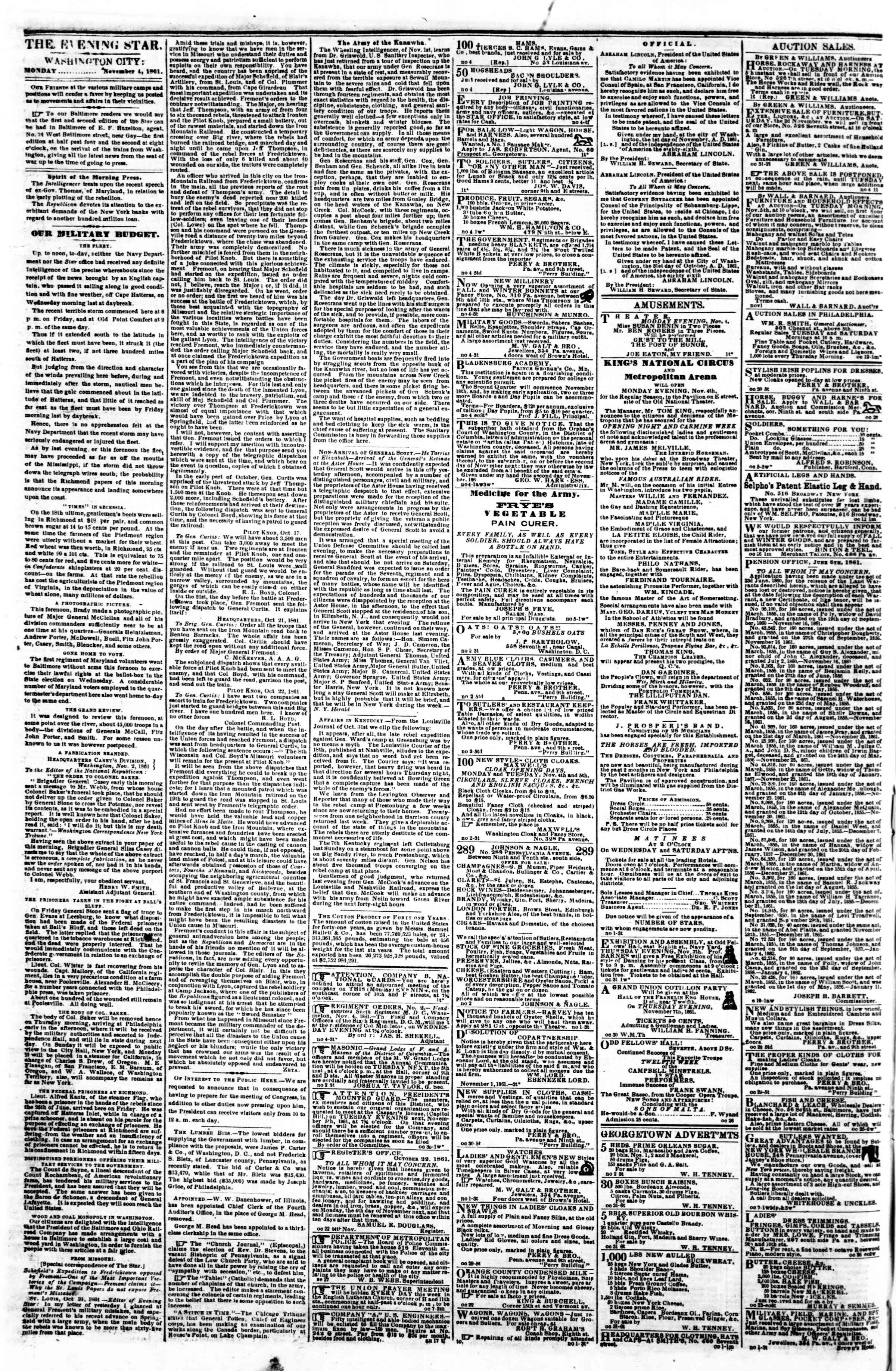 Newspaper of Evening Star dated November 4, 1861 Page 2