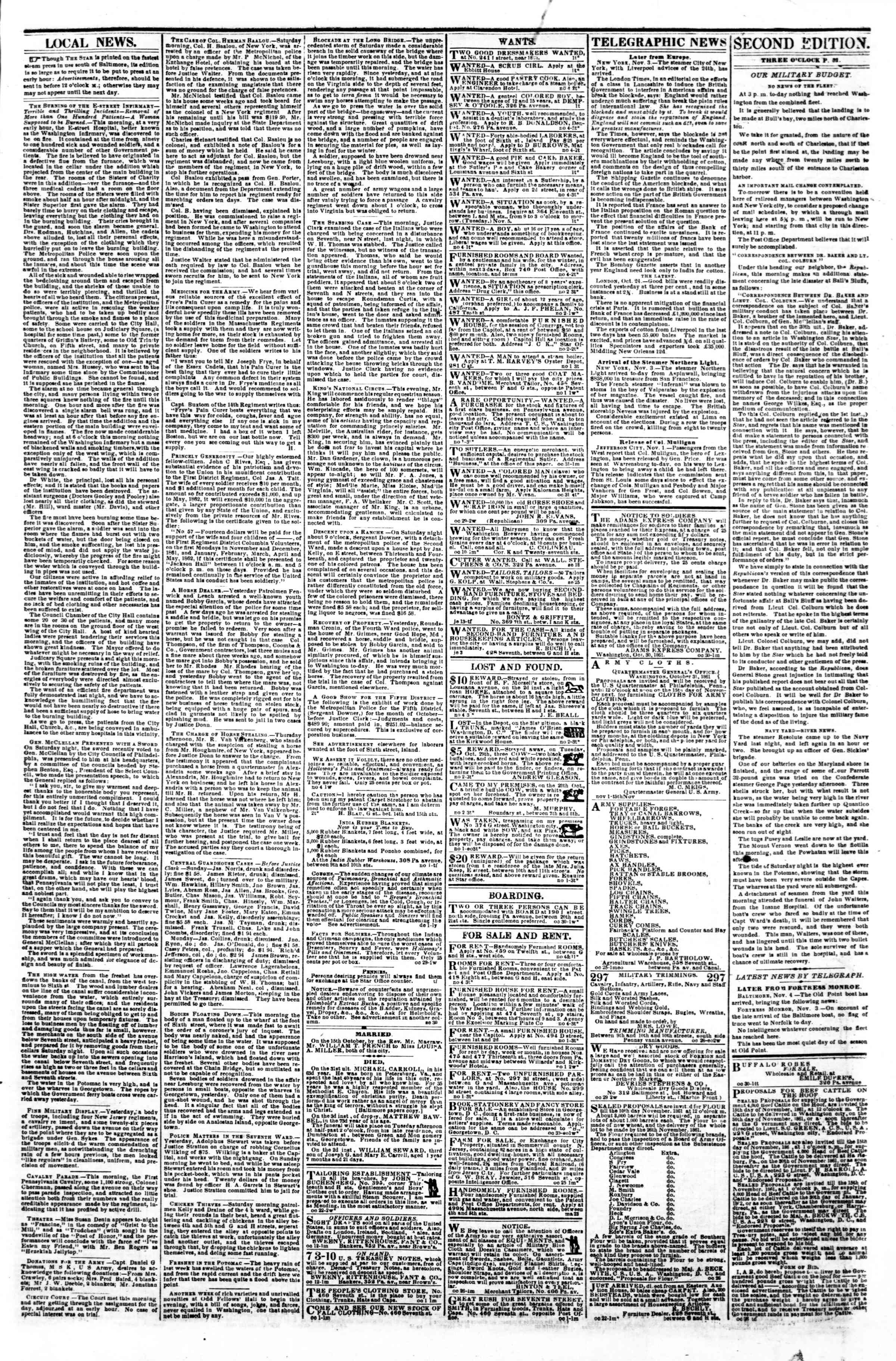 Newspaper of Evening Star dated November 4, 1861 Page 3