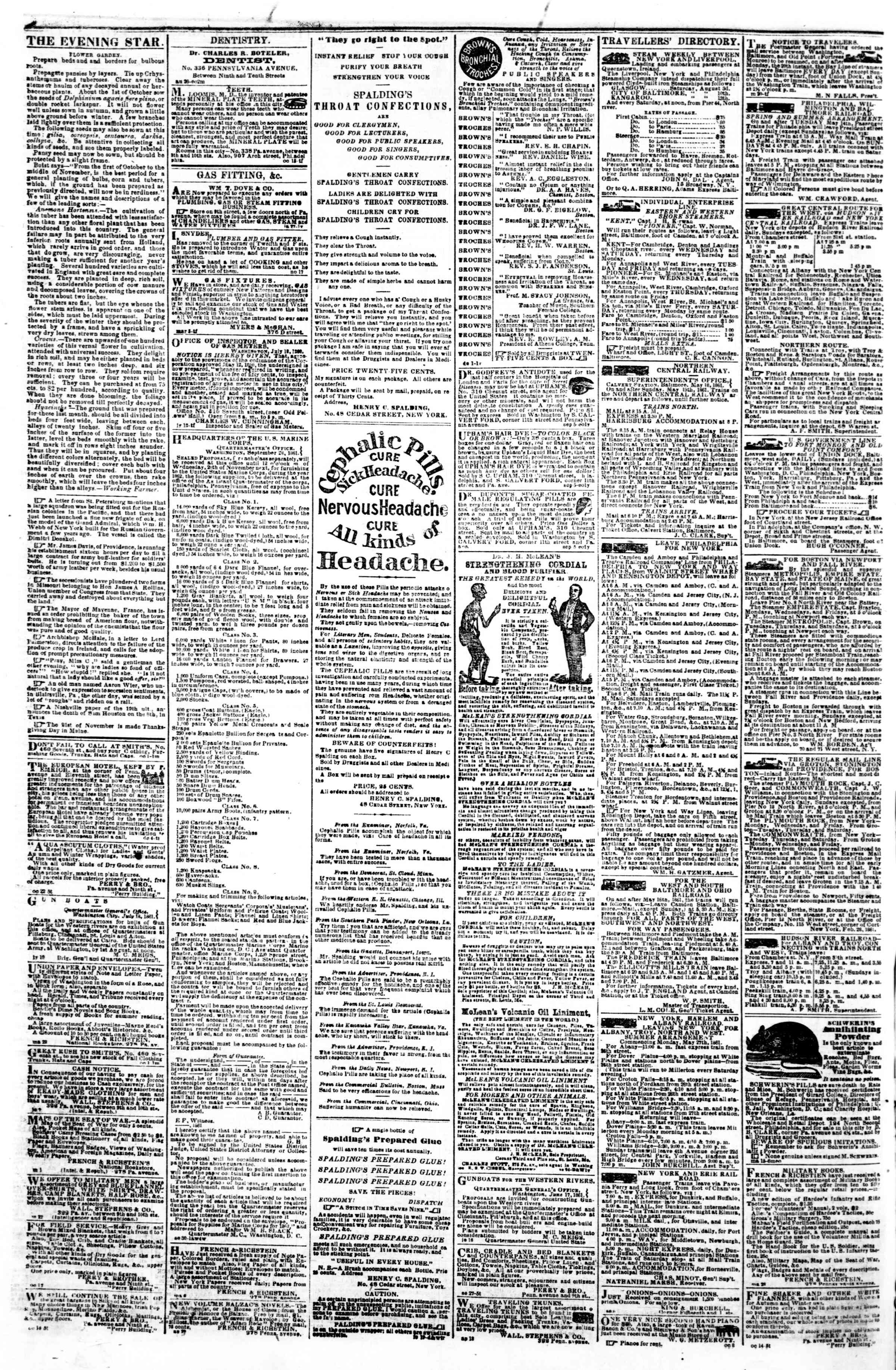Newspaper of Evening Star dated November 4, 1861 Page 4