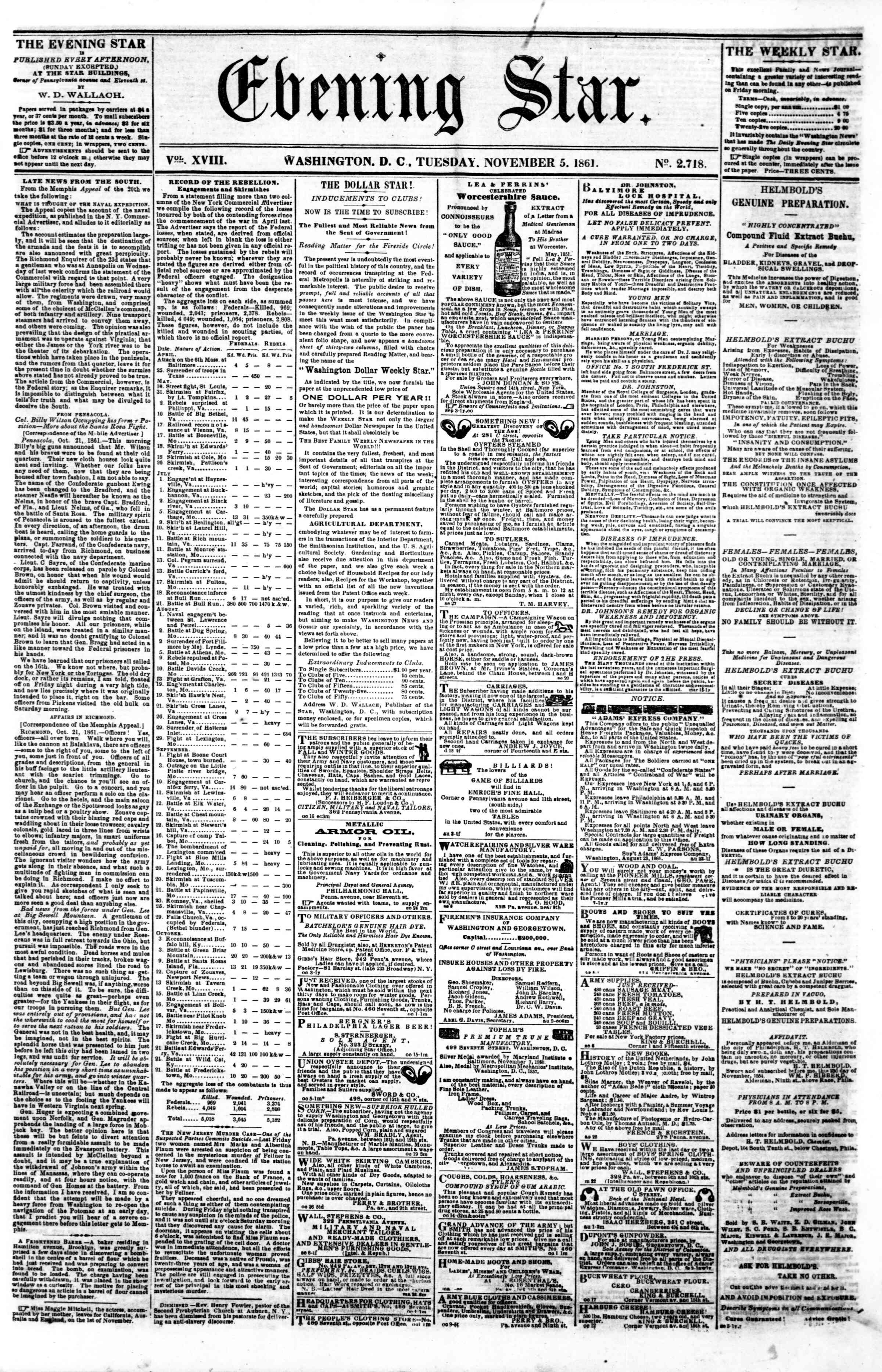 Newspaper of Evening Star dated November 5, 1861 Page 1