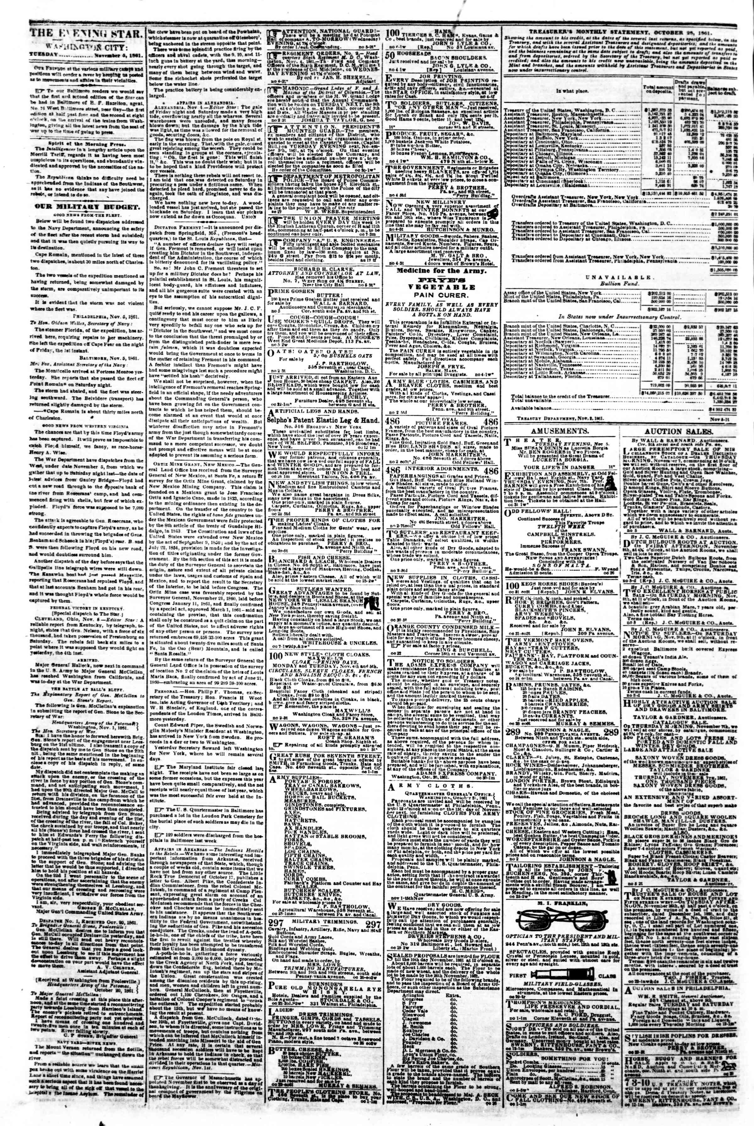 Newspaper of Evening Star dated November 5, 1861 Page 2