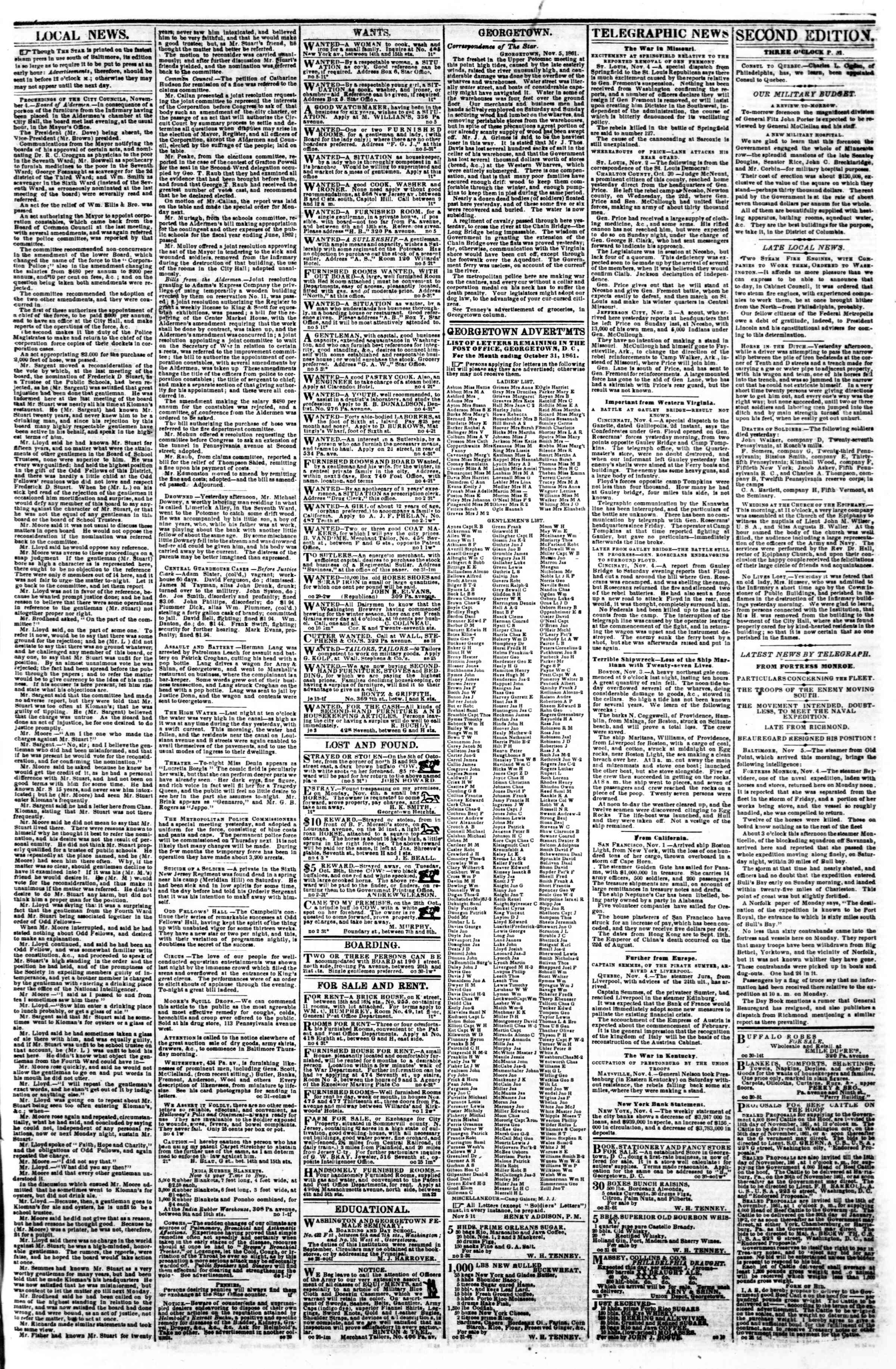 Newspaper of Evening Star dated November 5, 1861 Page 3
