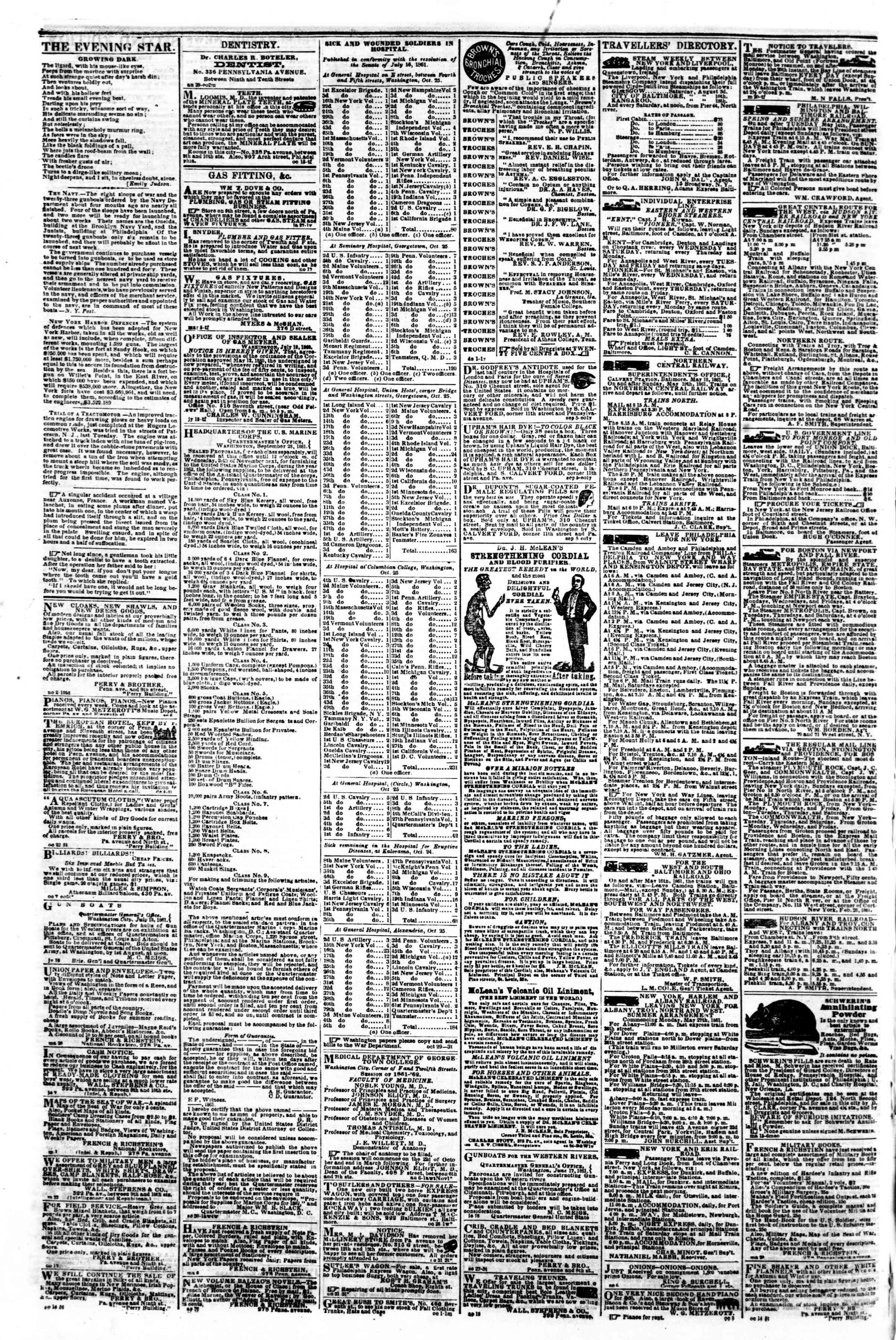 Newspaper of Evening Star dated November 5, 1861 Page 4