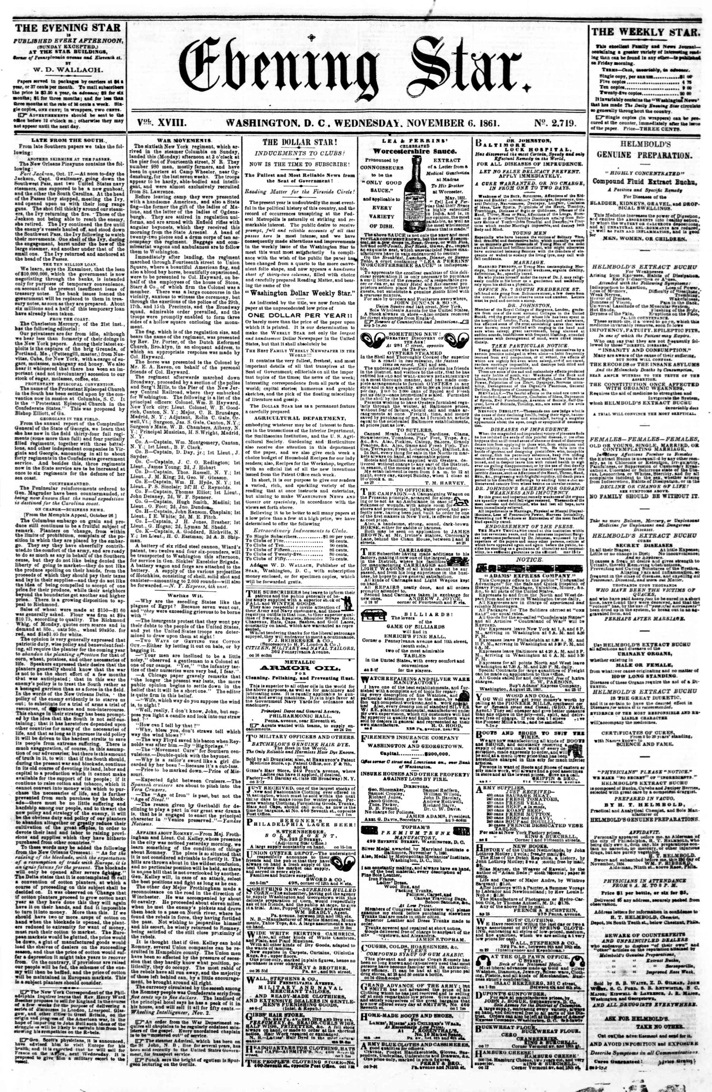 Newspaper of Evening Star dated November 6, 1861 Page 1