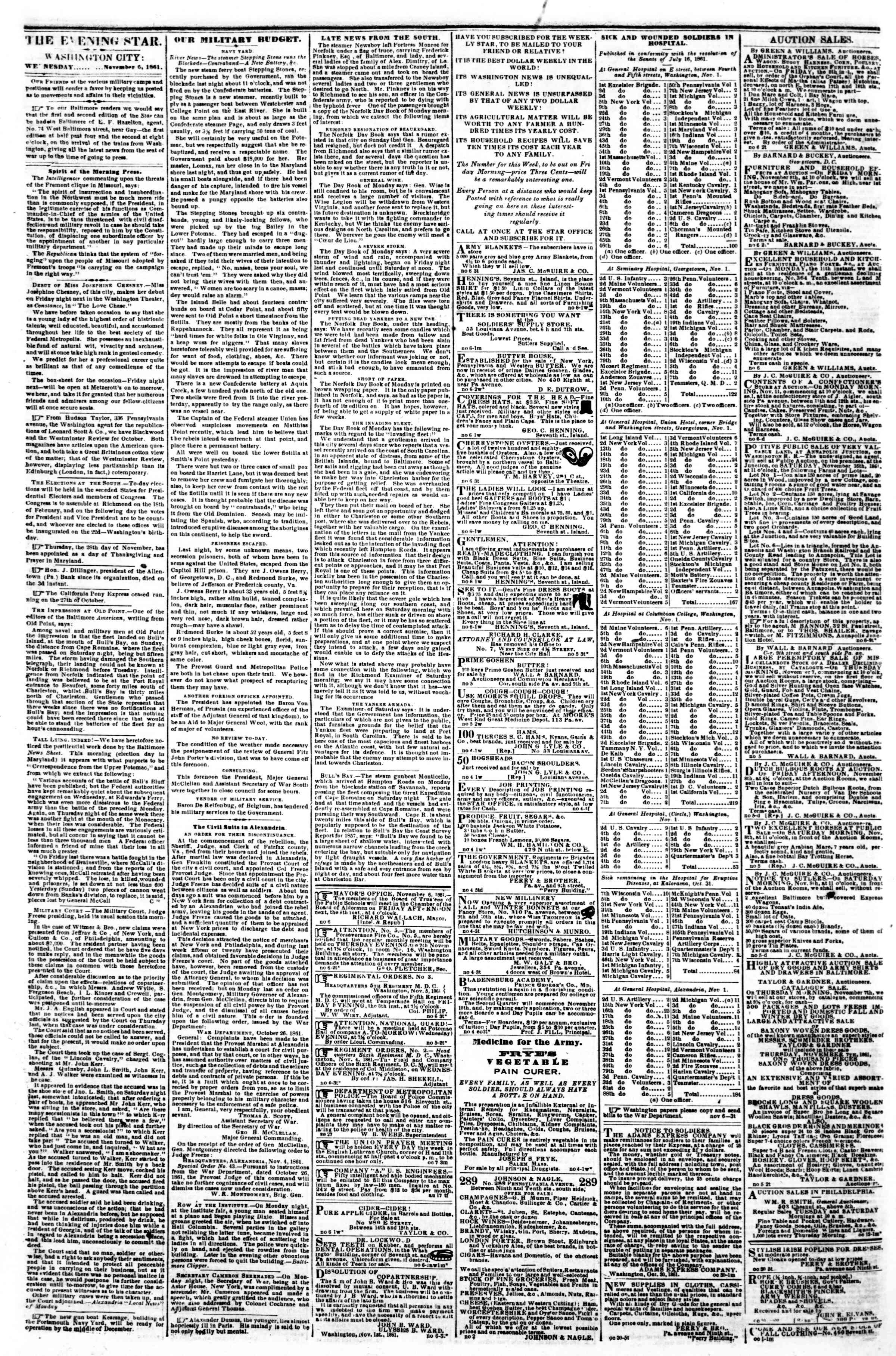 Newspaper of Evening Star dated November 6, 1861 Page 2