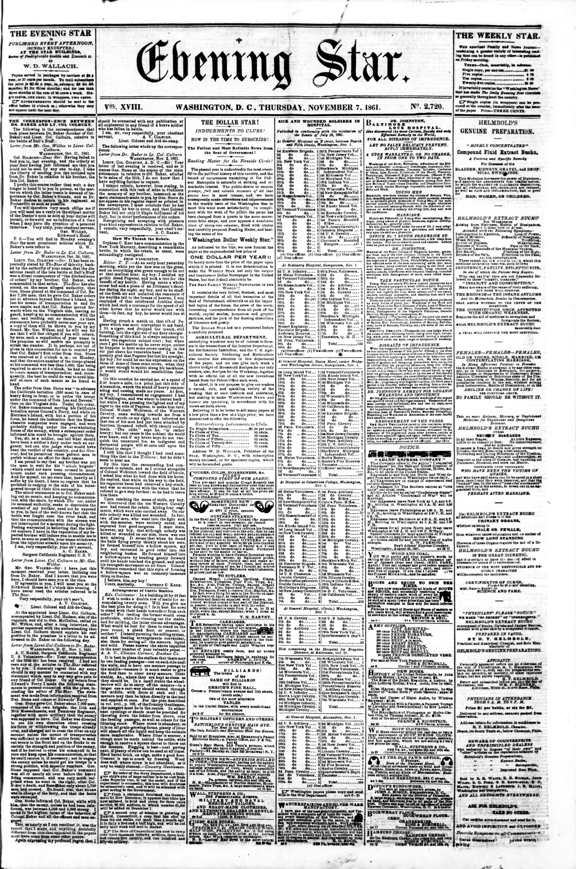 7 Kasım 1861 tarihli Evening Star Gazetesi Sayfa 1