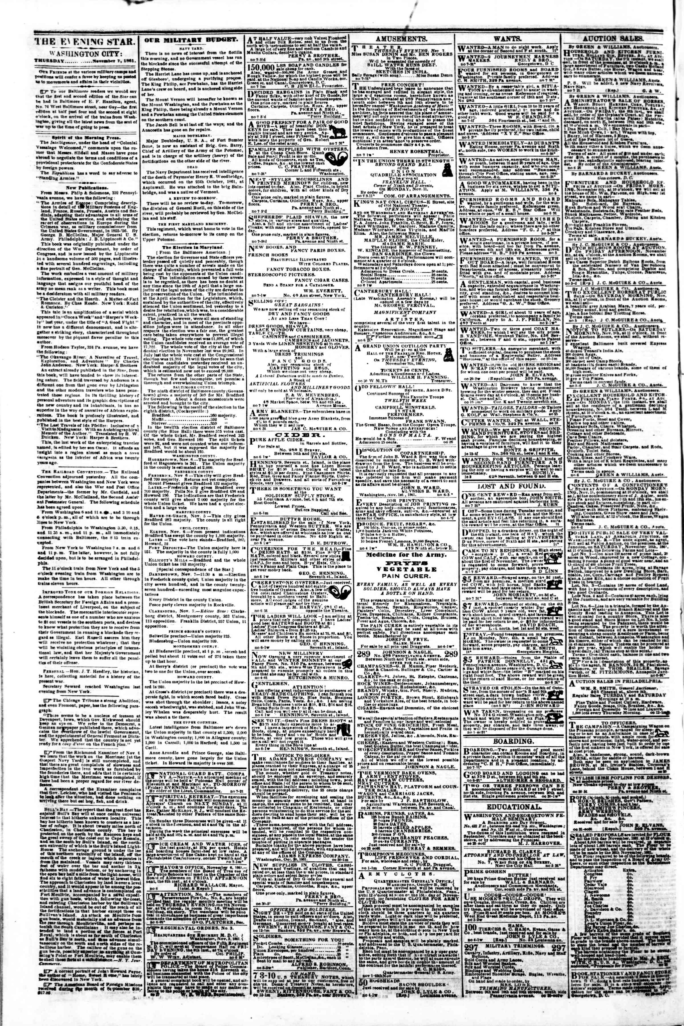 Newspaper of Evening Star dated November 7, 1861 Page 2