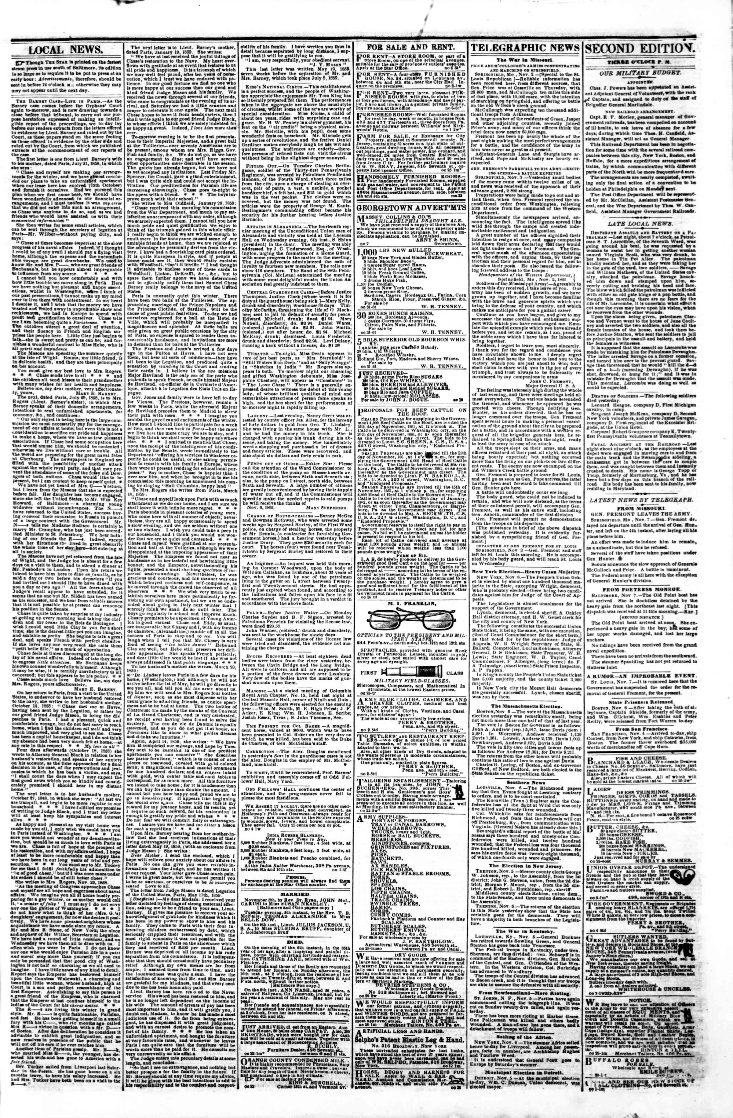 Newspaper of Evening Star dated November 7, 1861 Page 3