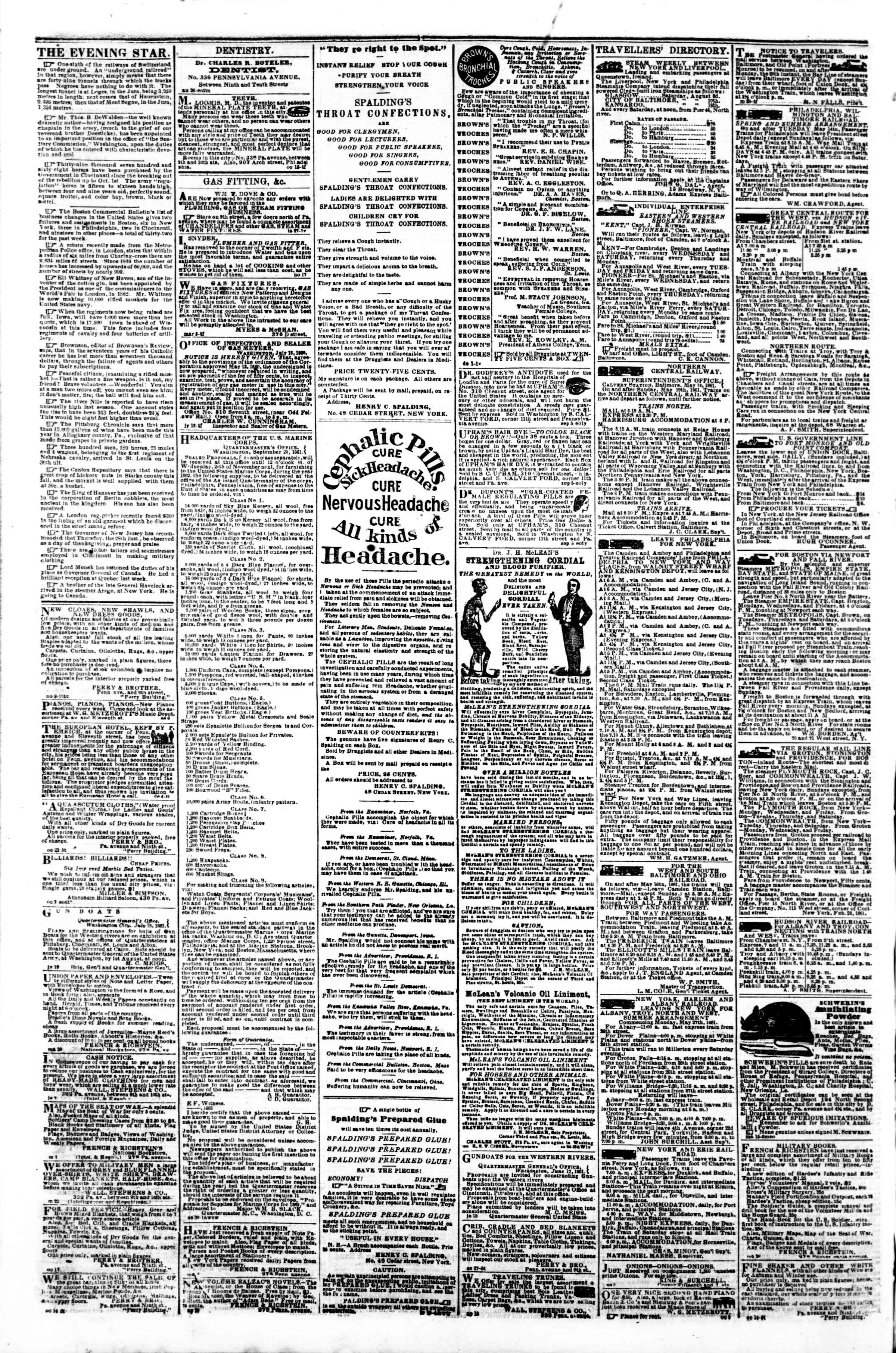 Newspaper of Evening Star dated November 7, 1861 Page 4