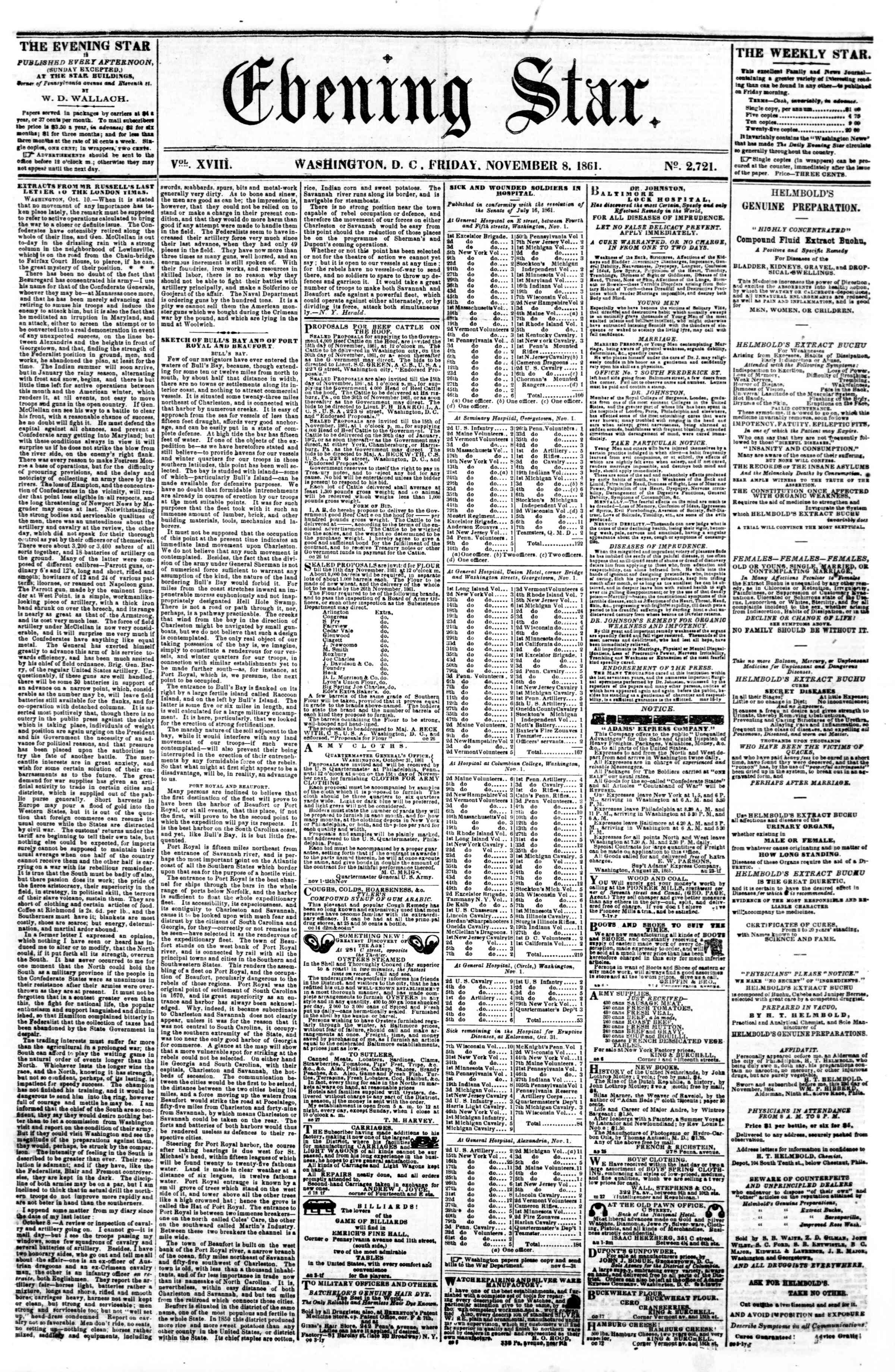 Newspaper of Evening Star dated November 8, 1861 Page 1