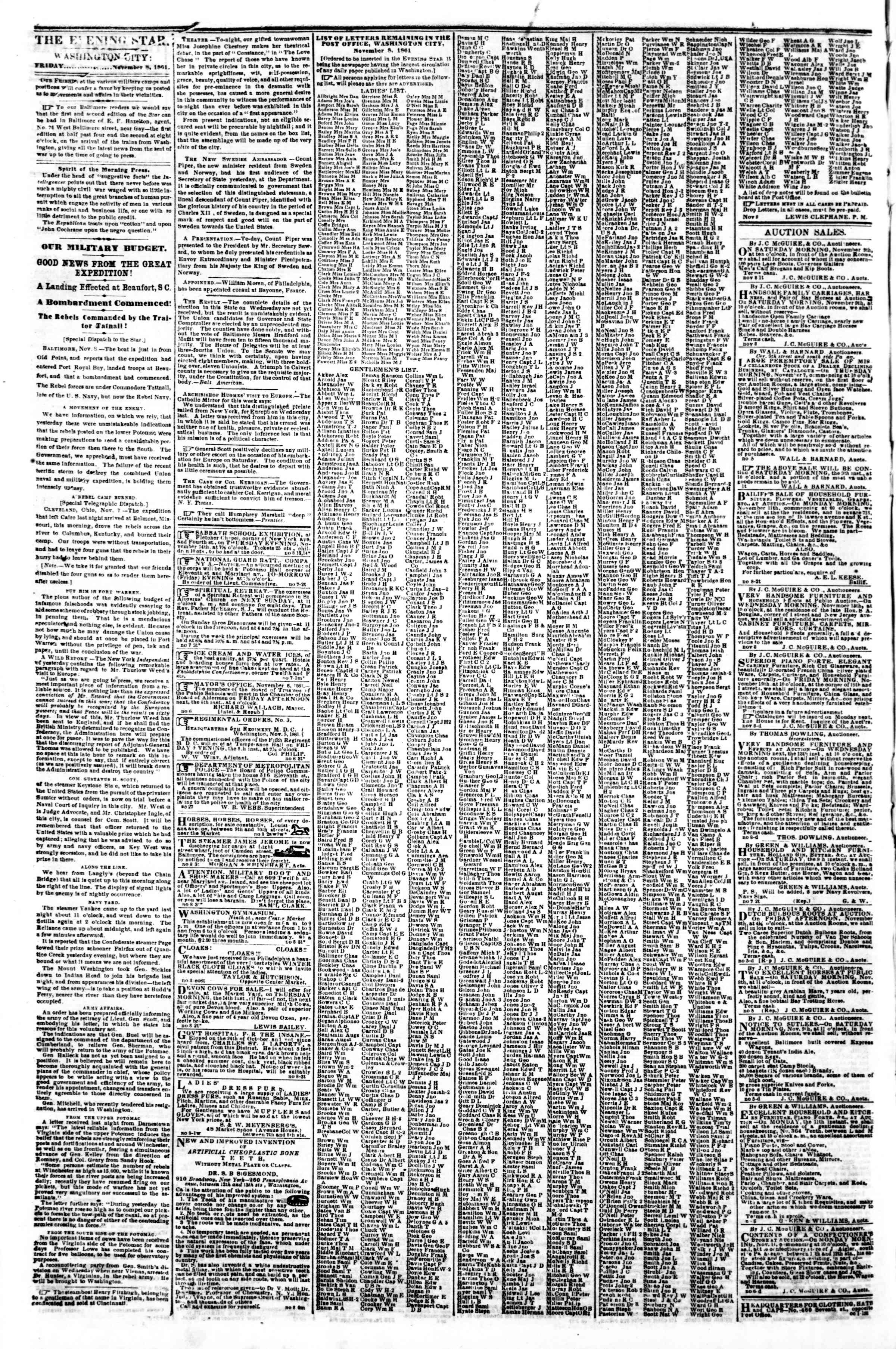 Newspaper of Evening Star dated November 8, 1861 Page 2