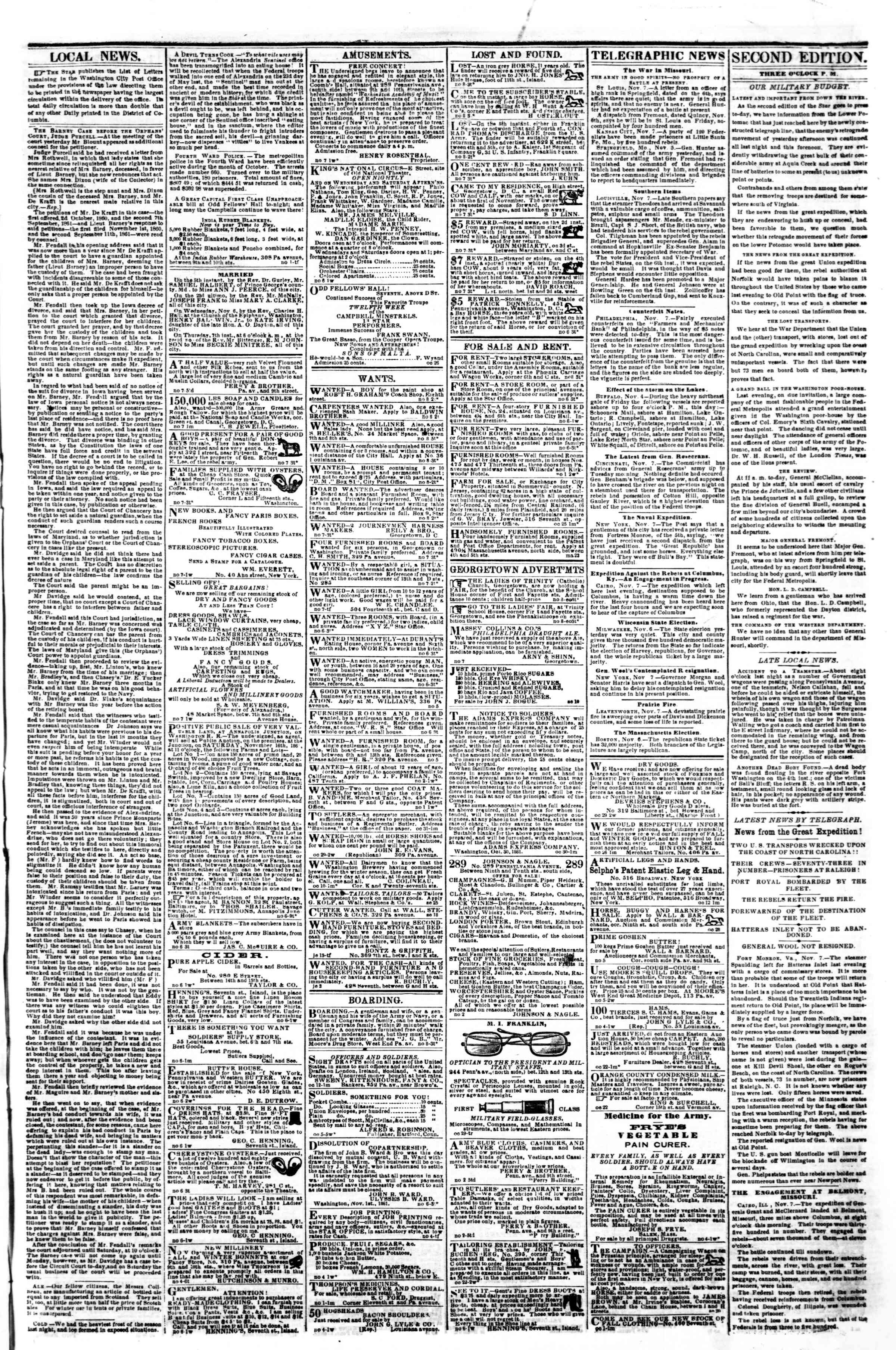 Newspaper of Evening Star dated November 8, 1861 Page 3