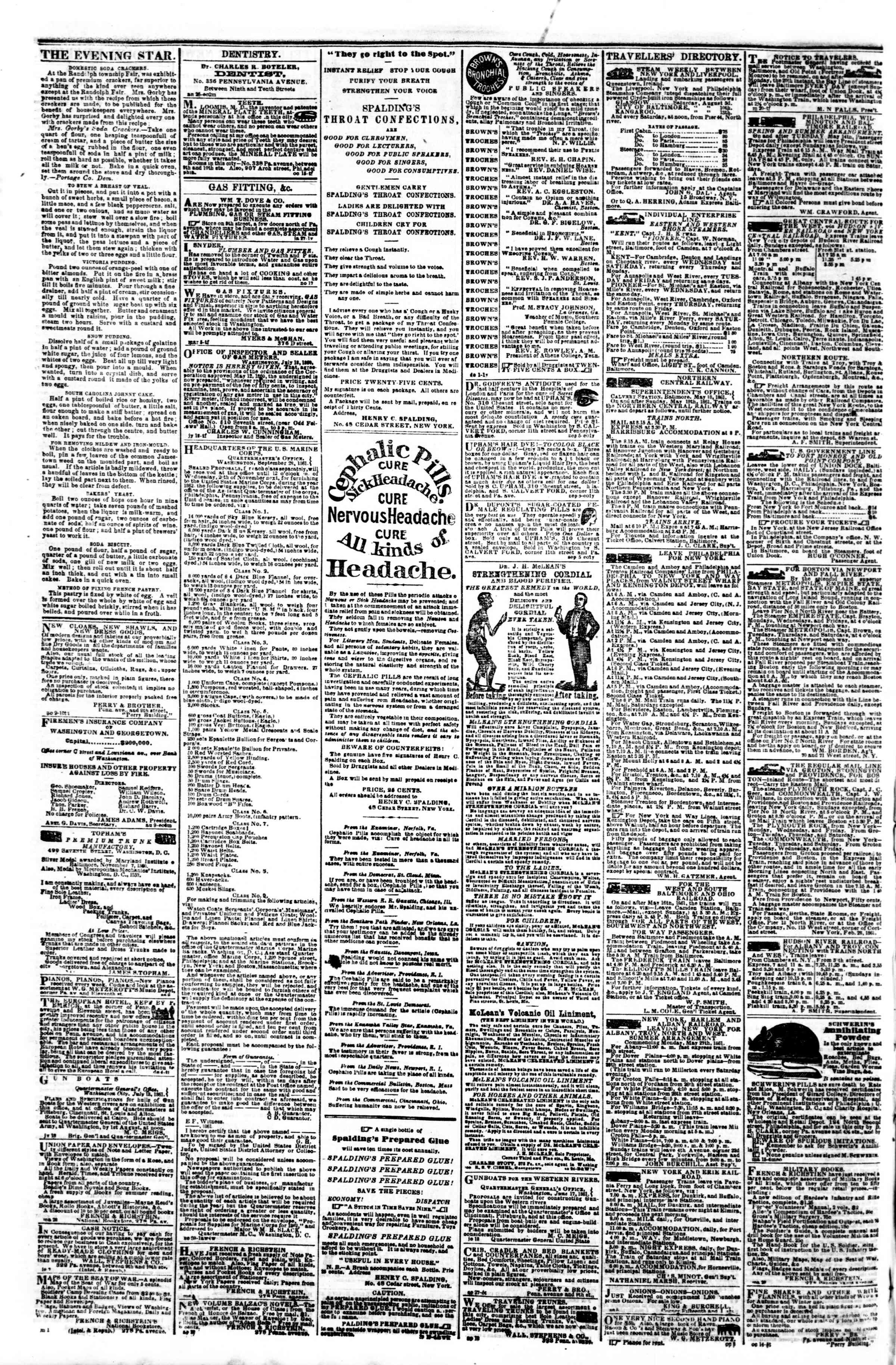 Newspaper of Evening Star dated November 8, 1861 Page 4