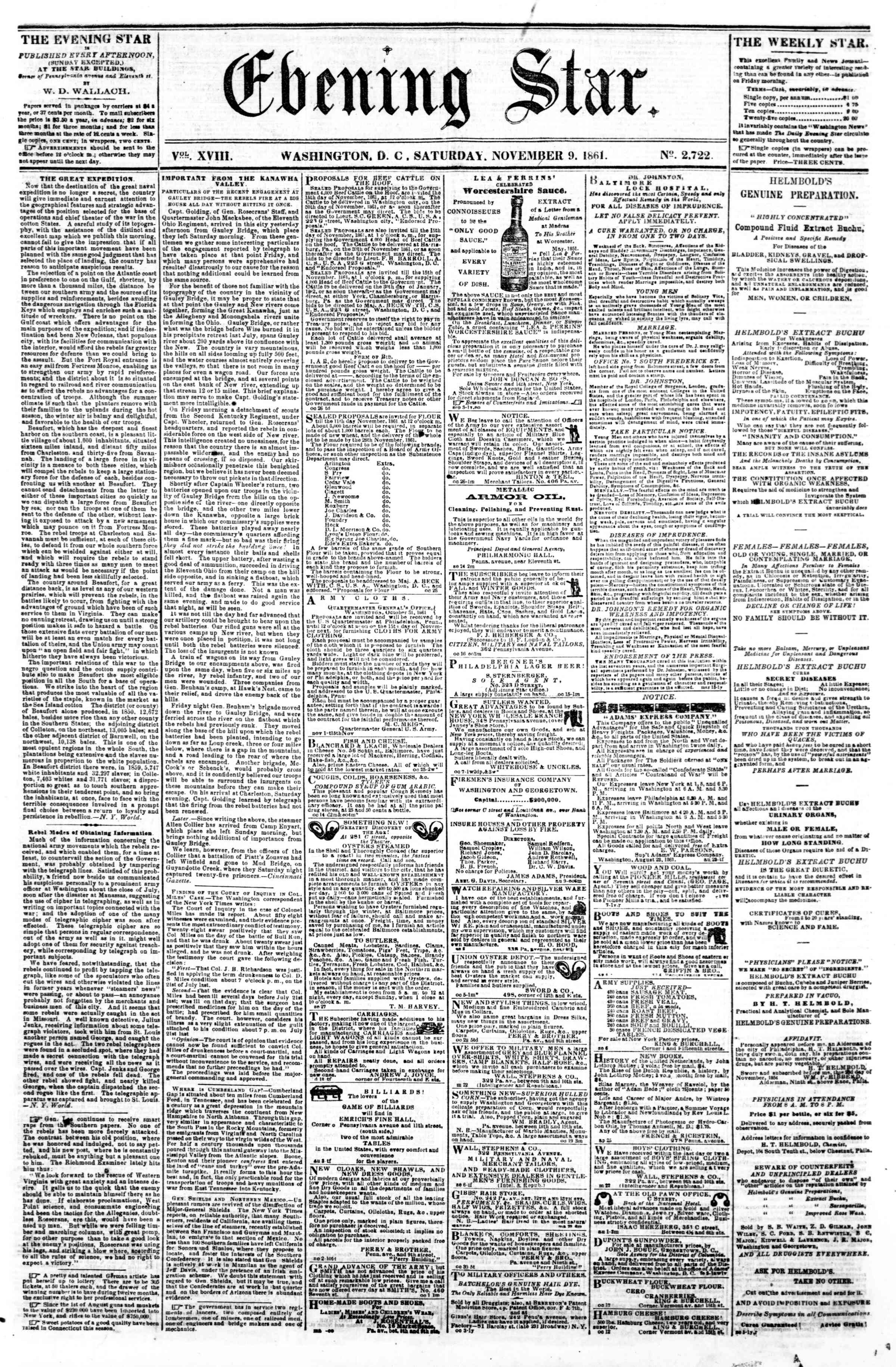 Newspaper of Evening Star dated November 9, 1861 Page 1