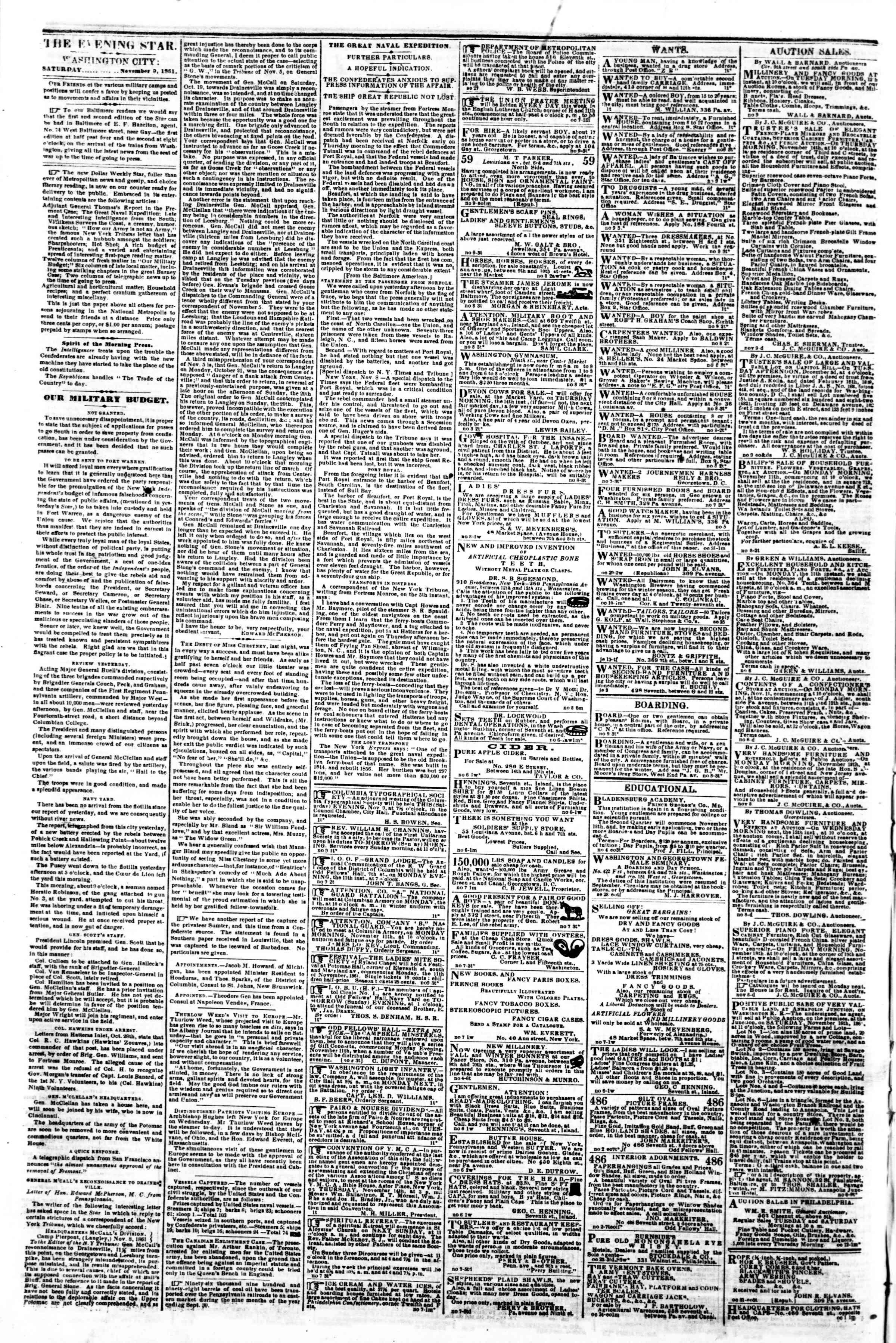9 Kasım 1861 tarihli Evening Star Gazetesi Sayfa 2