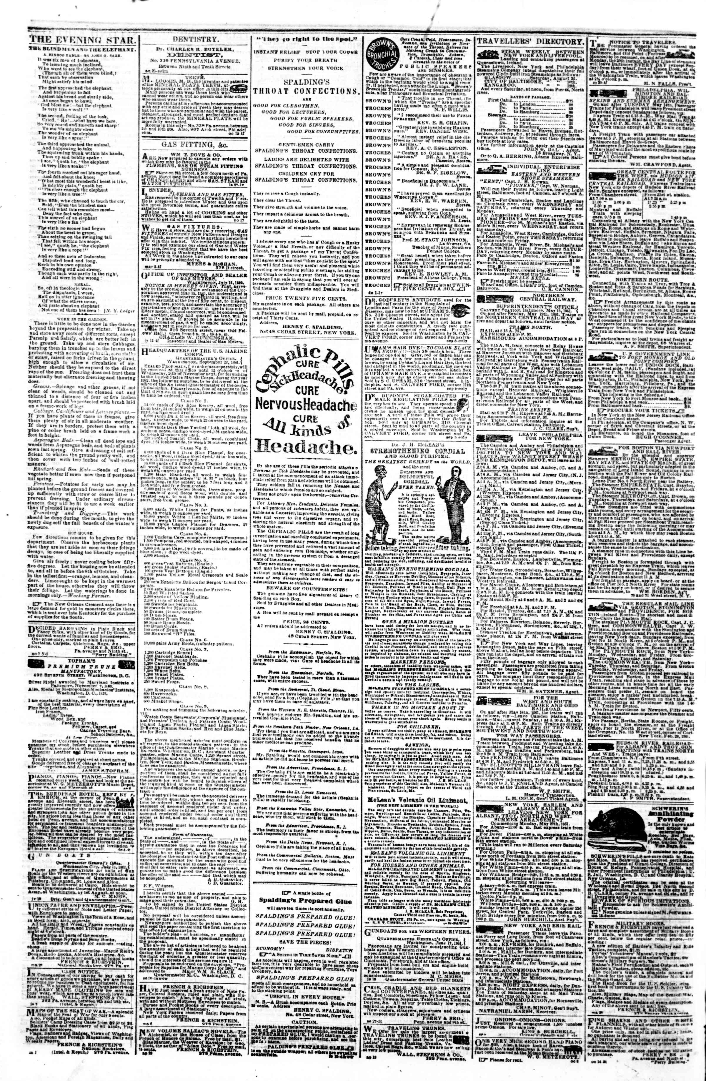 Newspaper of Evening Star dated November 9, 1861 Page 4