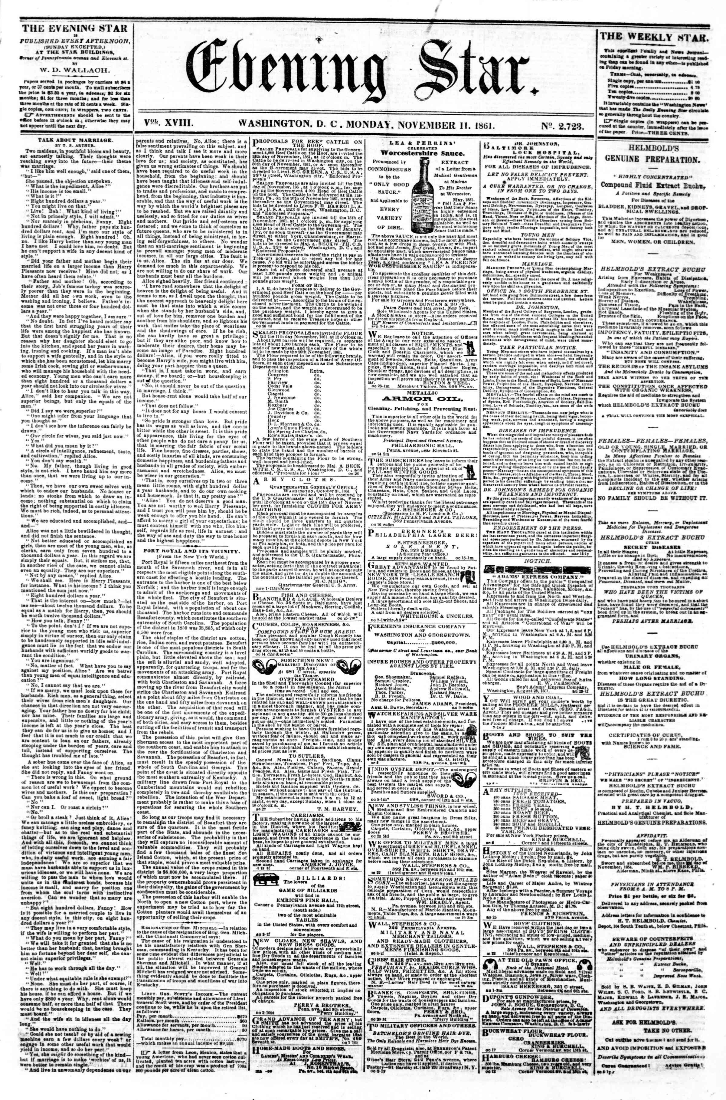 Newspaper of Evening Star dated November 11, 1861 Page 1