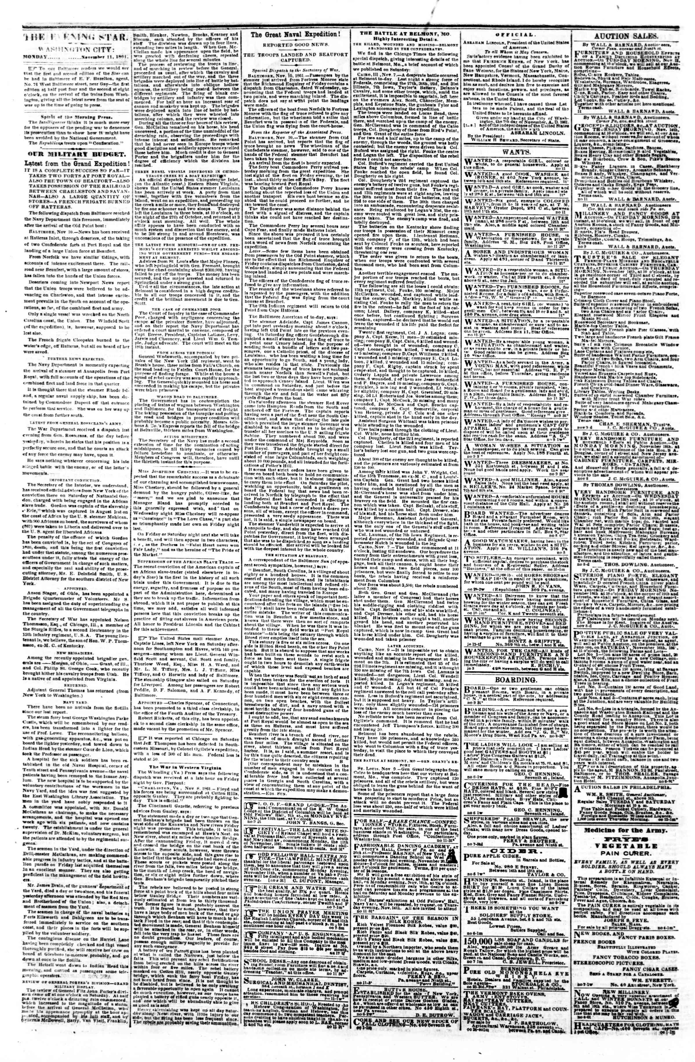 Newspaper of Evening Star dated November 11, 1861 Page 2