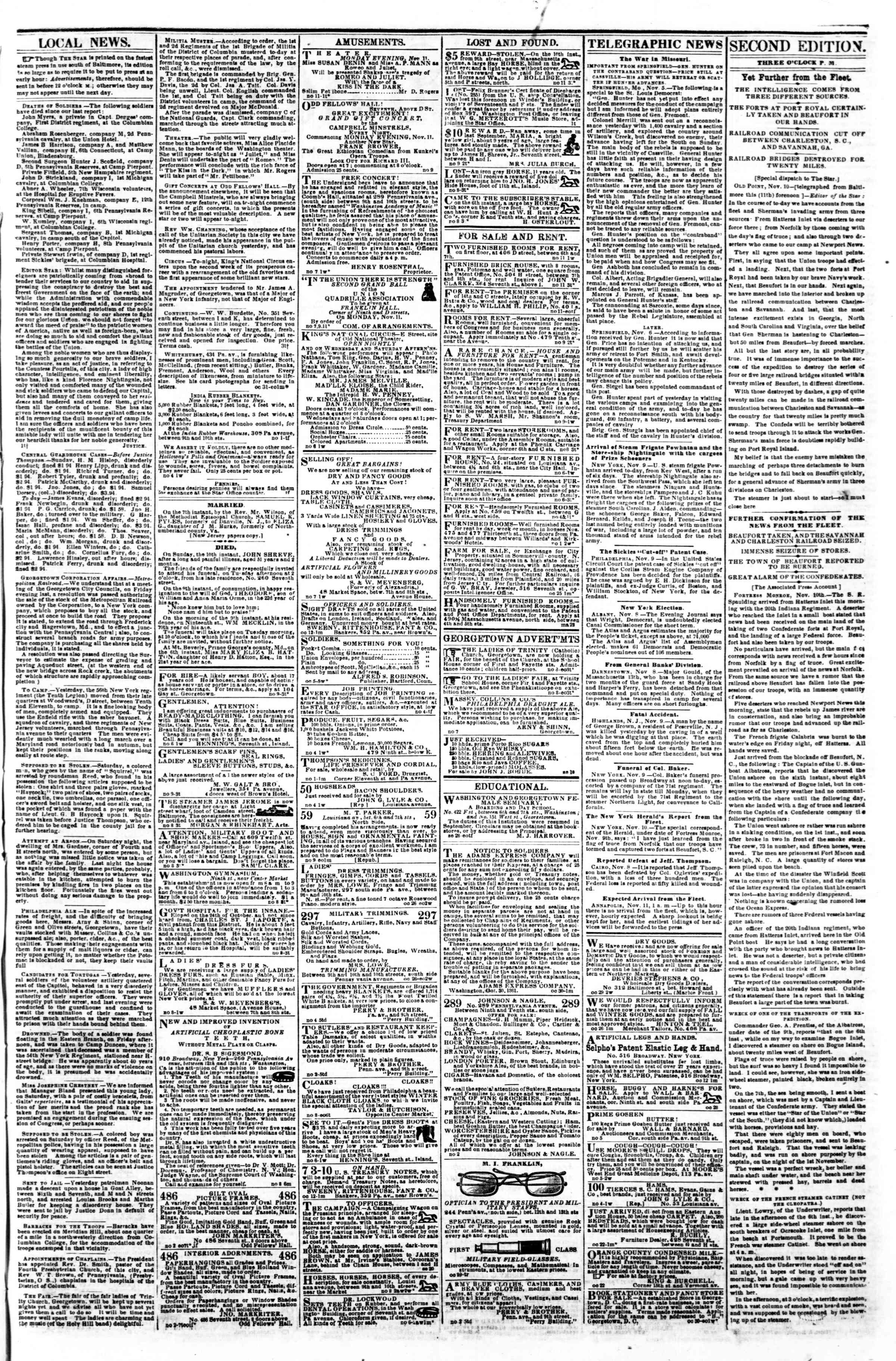 Newspaper of Evening Star dated November 11, 1861 Page 3