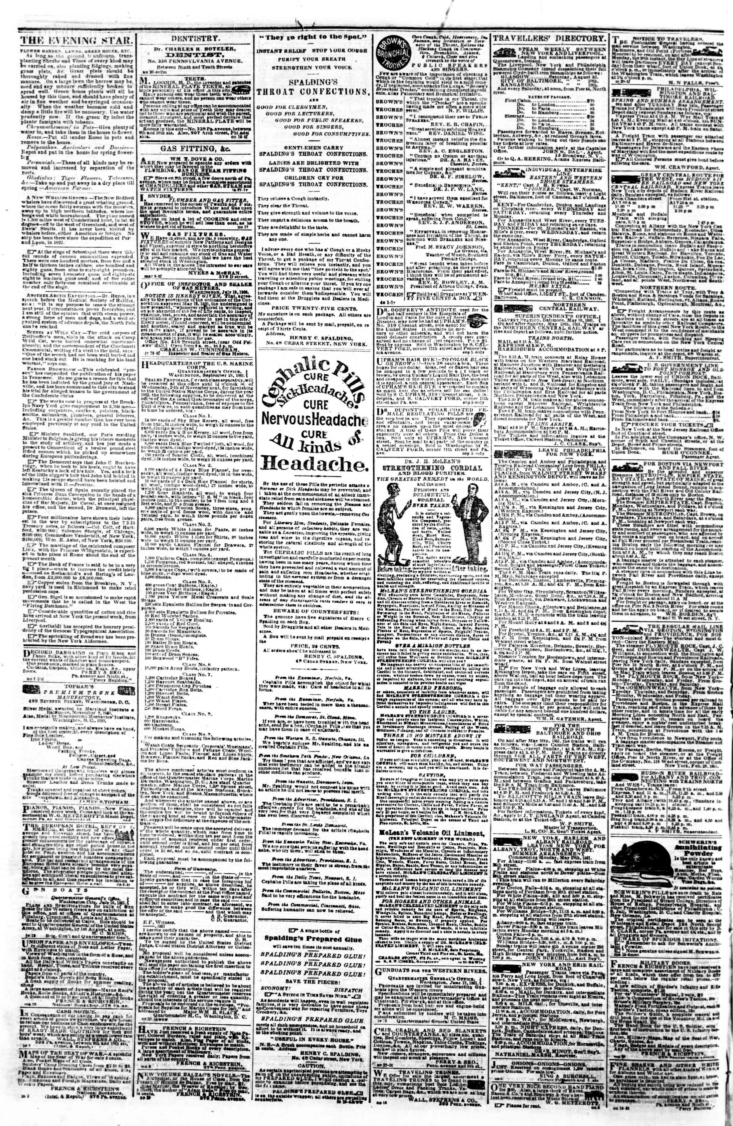 Newspaper of Evening Star dated November 11, 1861 Page 4