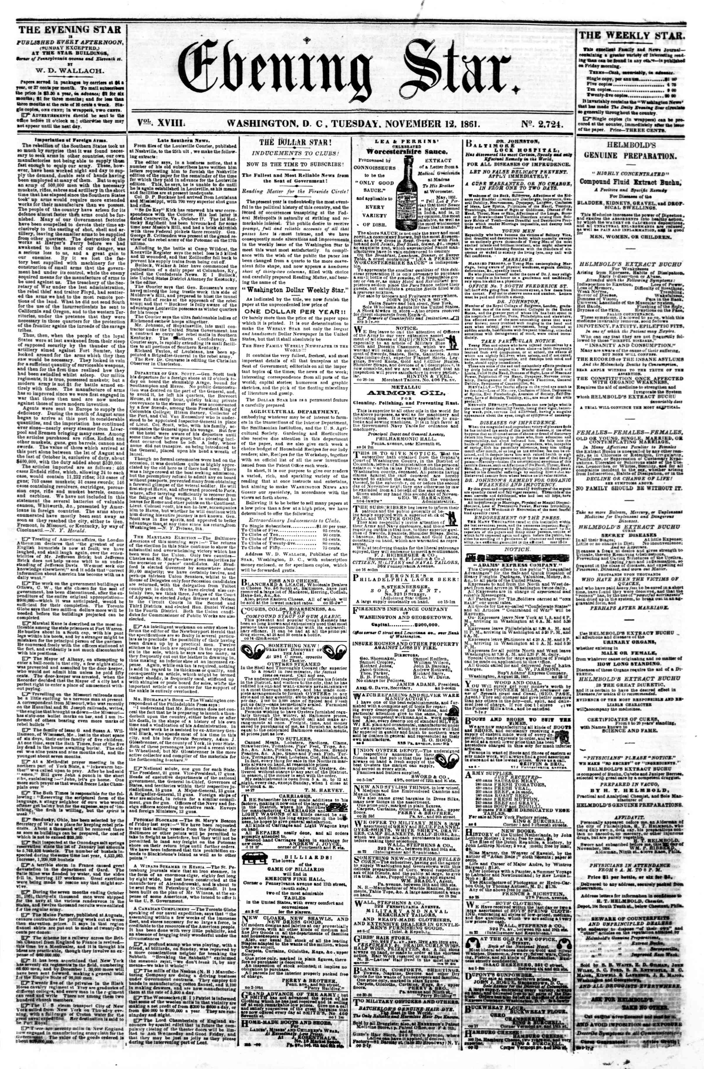 Newspaper of Evening Star dated November 12, 1861 Page 1