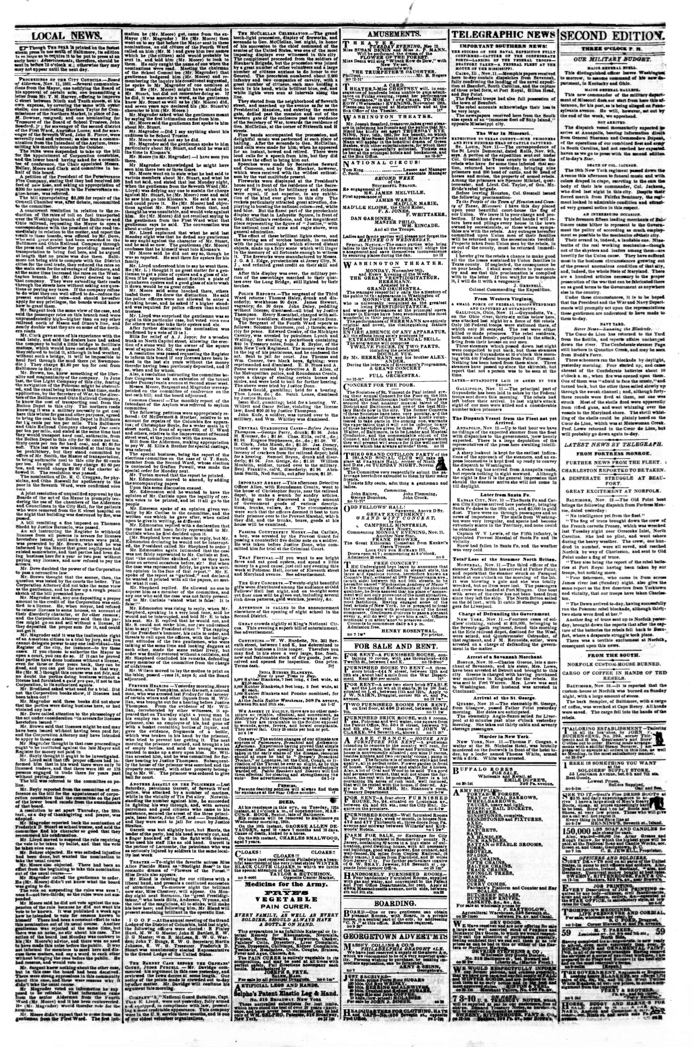 Newspaper of Evening Star dated November 12, 1861 Page 3