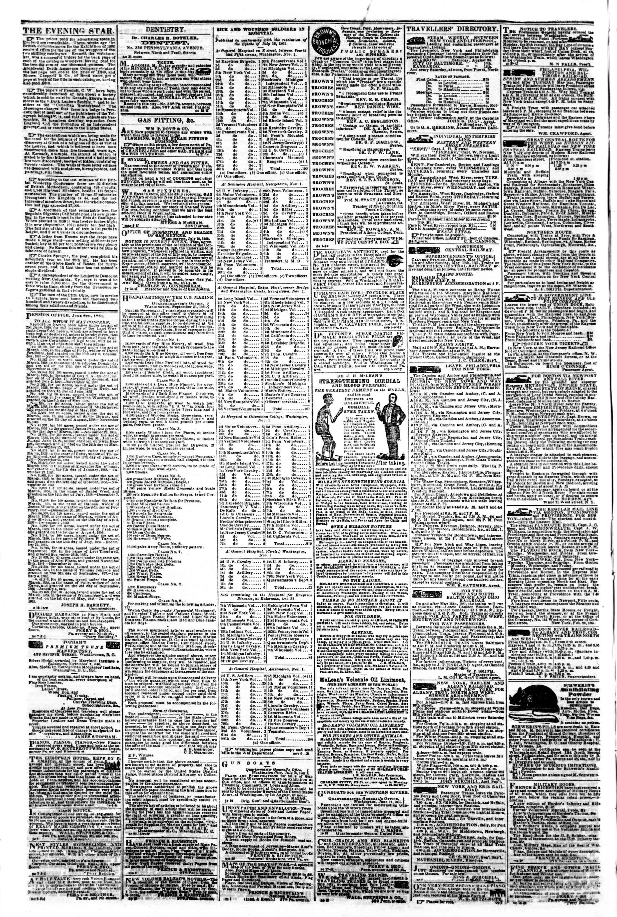 Newspaper of Evening Star dated November 12, 1861 Page 4
